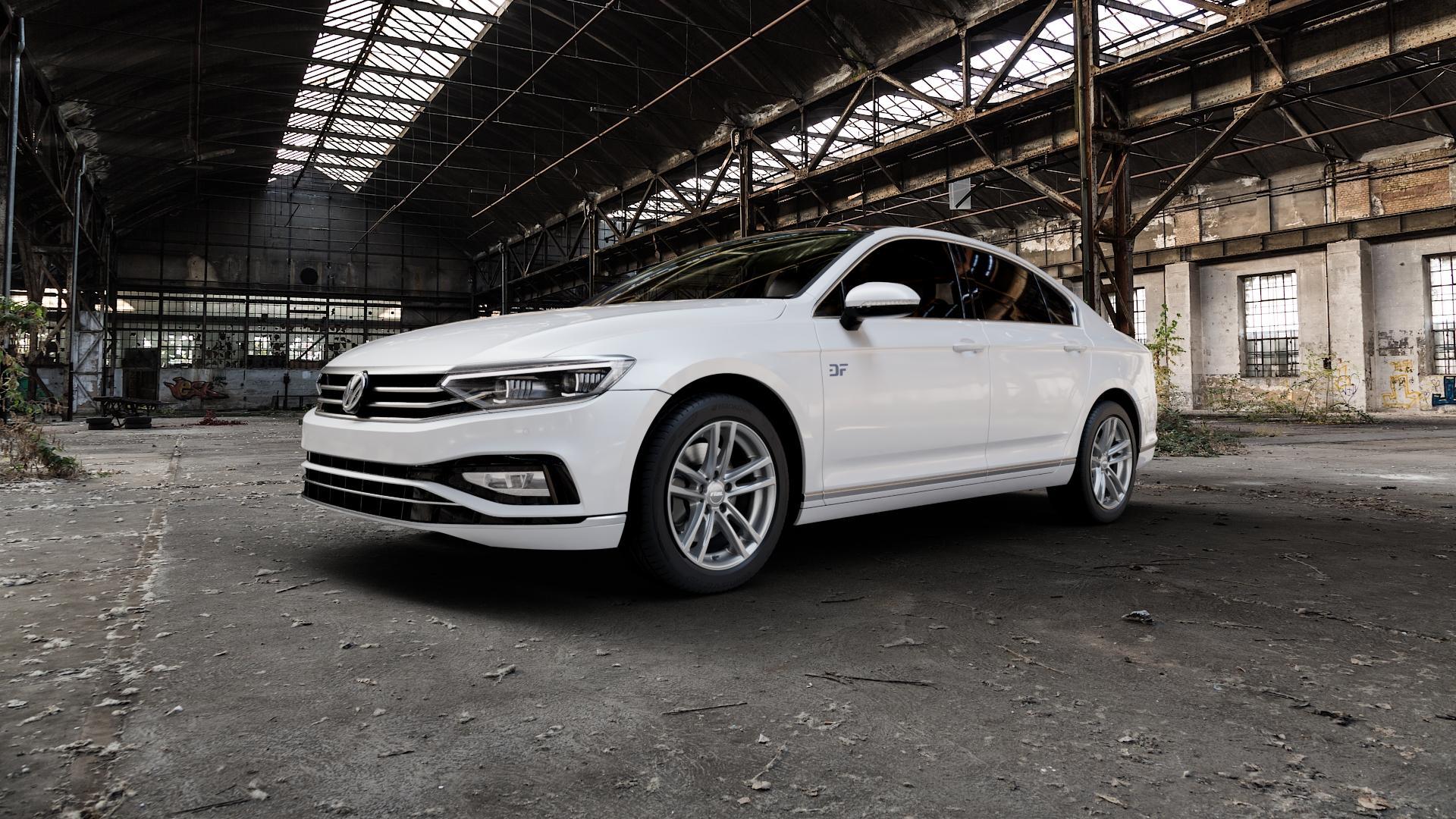 RIAL X10 metal-grey Felge mit Reifen grau in 18Zoll Winterfelge Alufelge auf weissem Volkswagen (VW) Passat 3C/B8 Limousine Facelift ⬇️ mit 15mm Tieferlegung ⬇️ Industriehalle 1 Camera_000