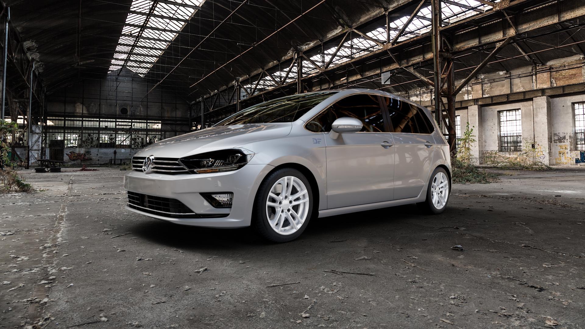 RIAL X10 polar-silber Felge mit Reifen in 17Zoll Winterfelge Alufelge auf silbernem Volkswagen (VW) Golf 7 Sportsvan ⬇️ mit 15mm Tieferlegung ⬇️ Industriehalle 1 Camera_000