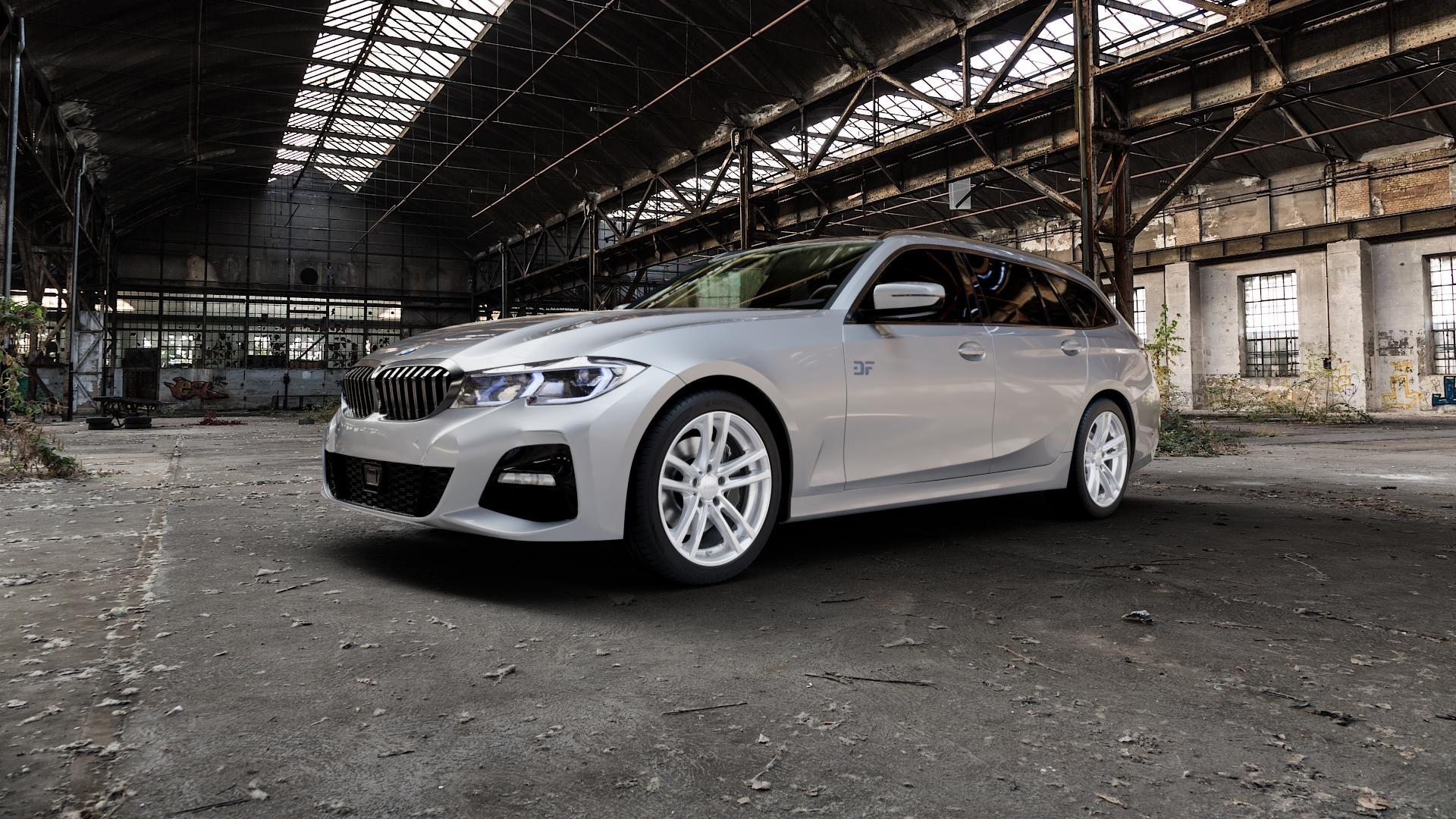RIAL X10 polar-silber Felge mit Reifen in 18Zoll Winterfelge Alufelge auf silbernem BMW 3er G21 Touring (G3K) ⬇️ mit 15mm Tieferlegung ⬇️ Industriehalle 1 Camera_000