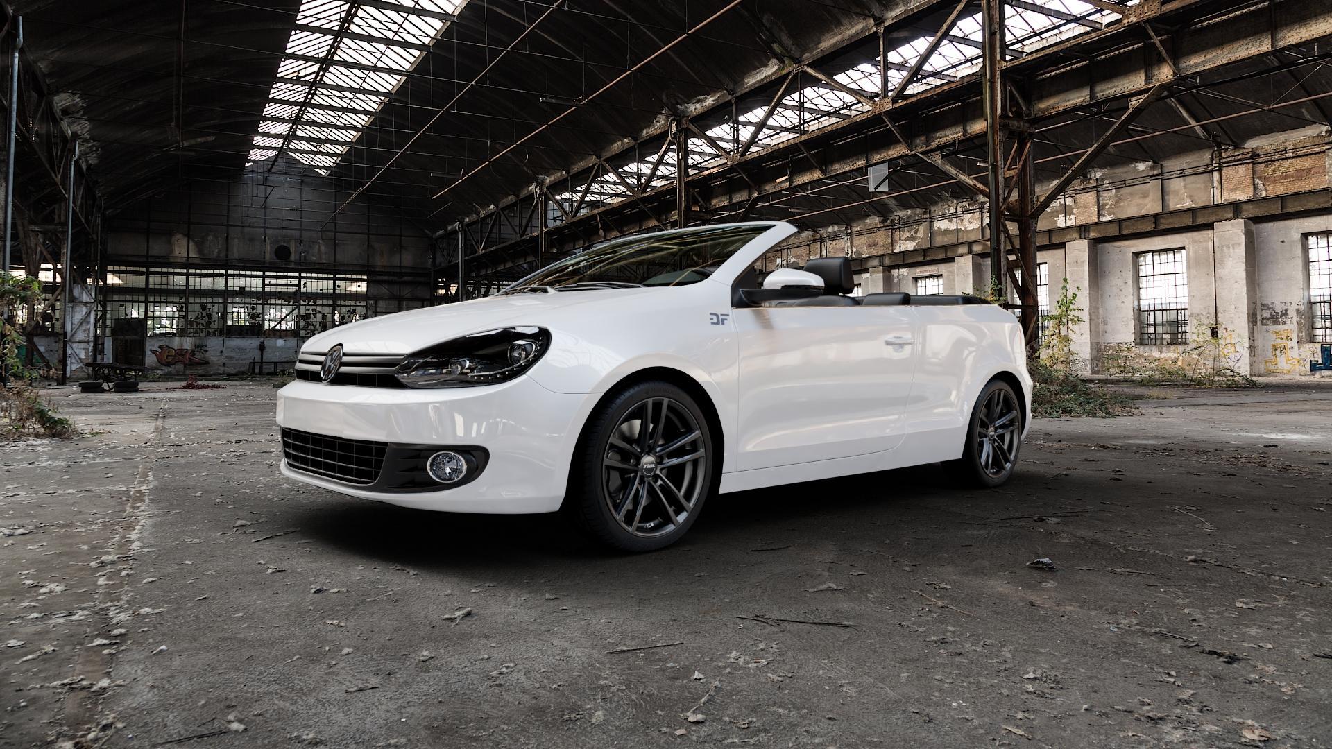 RIAL X10 racing-schwarz Felge mit Reifen in 18Zoll Winterfelge Alufelge auf weissem Volkswagen (VW) Golf 6 Cabrio ⬇️ mit 15mm Tieferlegung ⬇️ Industriehalle 1 Camera_000