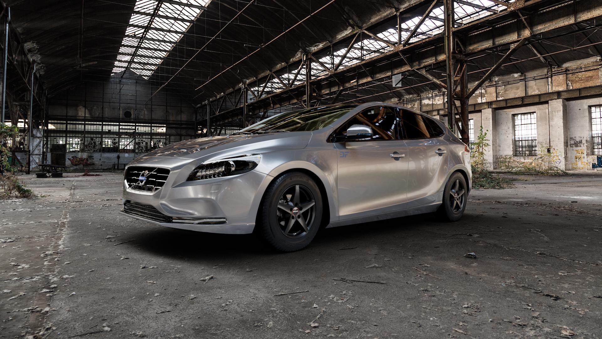 RONAL R41 MATTSCHWARZ Felge mit Reifen in 15Zoll Winterfelge Alufelge auf silbernem Volvo V40 II Typ M ⬇️ mit 15mm Tieferlegung ⬇️ Industriehalle 1 Camera_000