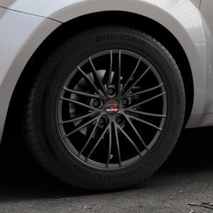 RStyle Wheels SR11 black matt Felge mit Reifen schwarz in 15Zoll Winterfelge Alufelge auf silbernem Alfa Romeo Mito Typ 955 ⬇️ mit 15mm Tieferlegung ⬇️ Industriehalle 1 Thumbnail
