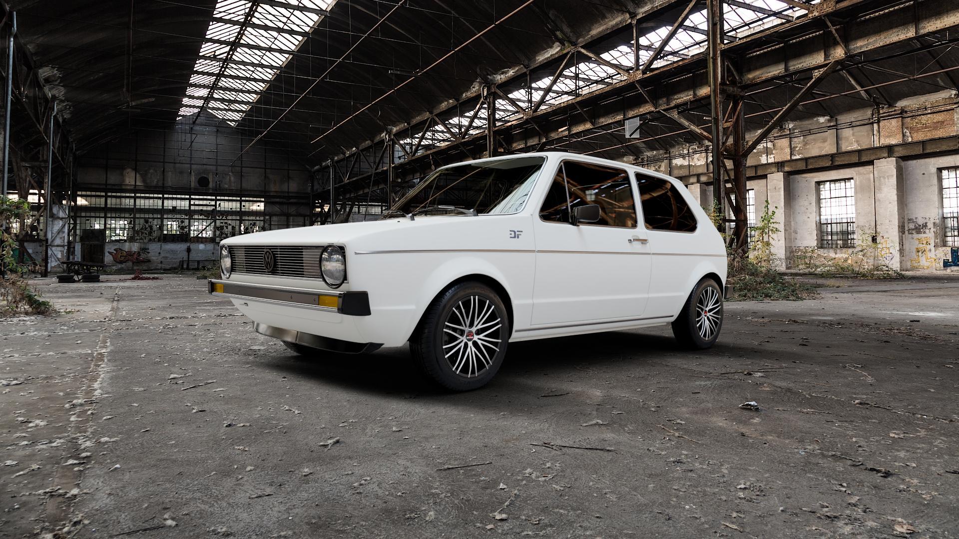 RStyle Wheels SR11 black matt front polished Felge mit Reifen schwarz in 14Zoll Alufelge auf weissem Volkswagen (VW) Golf 1 ⬇️ mit 15mm Tieferlegung ⬇️ Industriehalle 1 Camera_000