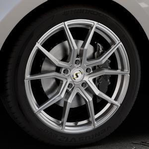 SchmidtRevolution Drago Softhorn Highgloss Silber Felge mit Reifen in 21Zoll Winterfelge Alufelge auf silbernem Land Rover Range Velar Typ LY ⬇️ mit 15mm Tieferlegung ⬇️ Industriehalle 1 Thumbnail