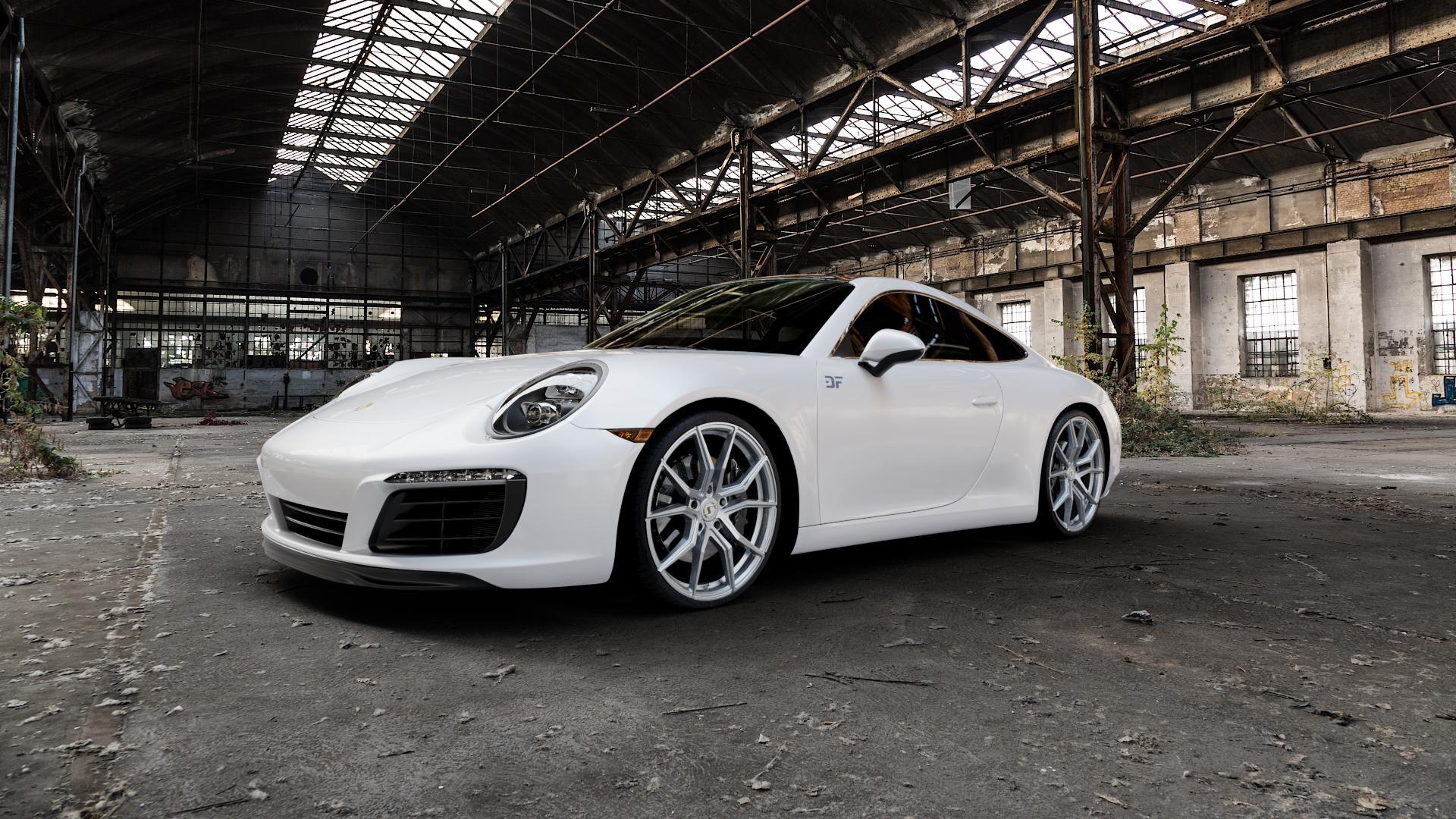 SchmidtRevolution Schmidt Drago HighGloss Silver Felge mit Reifen silber in 21Zoll Winterfelge Alufelge auf weissem Porsche 911 Typ 991 Cabriolet Facelift ⬇️ mit 15mm Tieferlegung ⬇️ Industriehalle 1 Camera_000