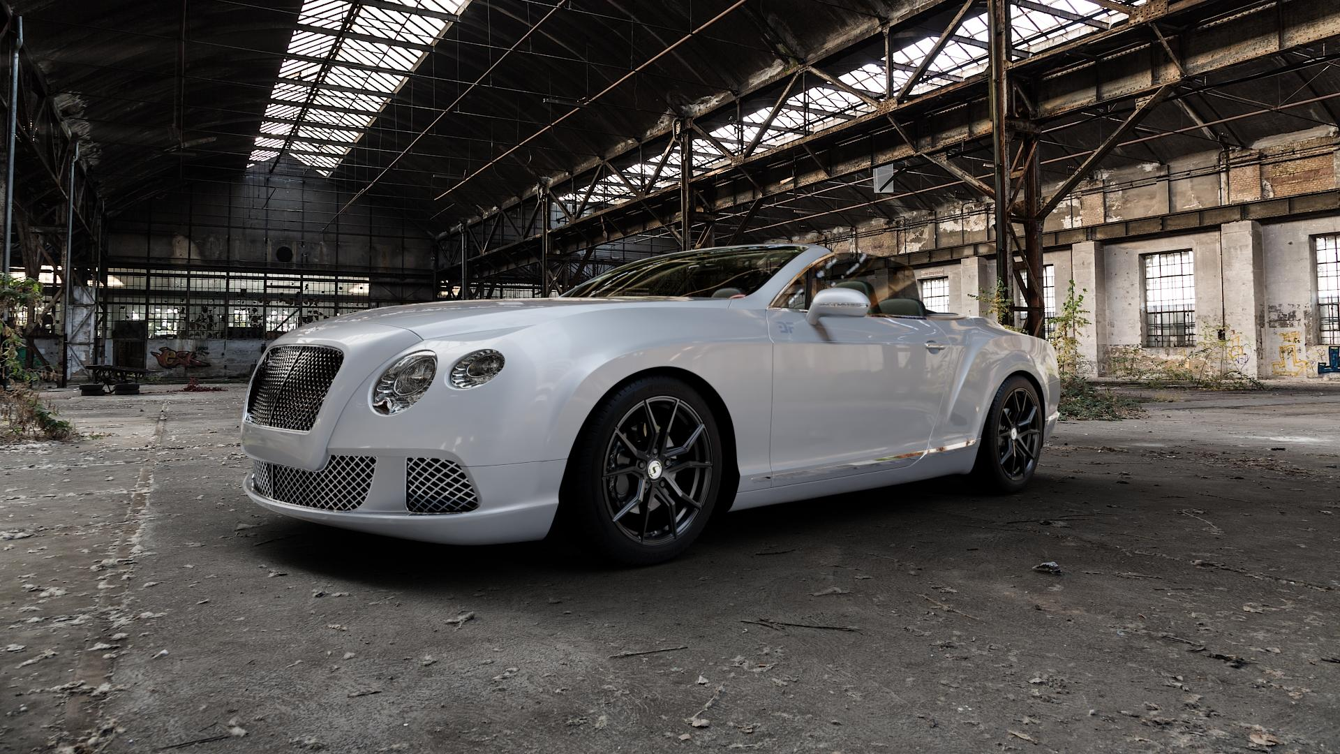 SchmidtRevolution Schmidt Drago SatinBlack Felge mit Reifen schwarz in 19Zoll Winterfelge Alufelge auf silbernem Bentley Continental Flying Spur GT GTC ⬇️ mit 15mm Tieferlegung ⬇️ Industriehalle 1 Camera_000