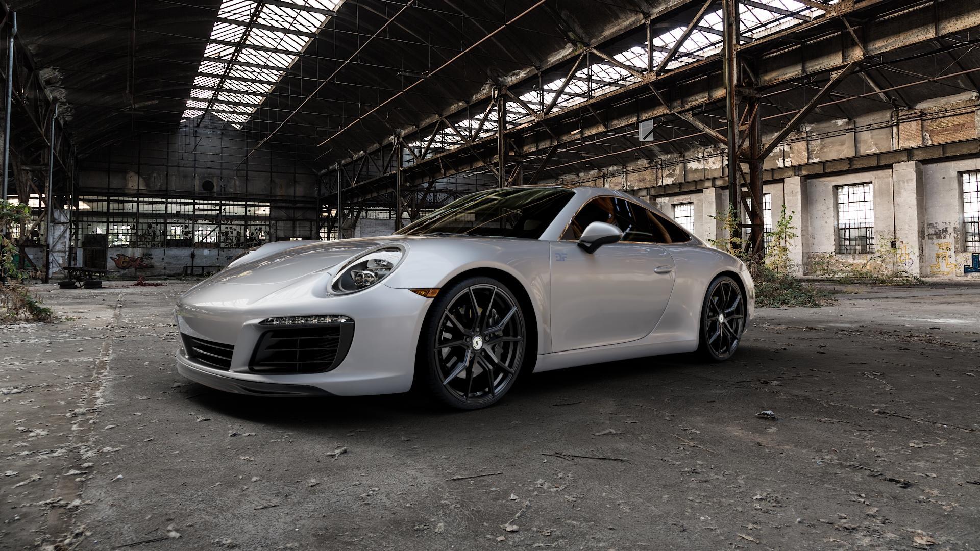 SchmidtRevolution Schmidt Drago SatinBlack Felge mit Reifen schwarz in 21Zoll Winterfelge Alufelge auf silbernem Porsche 911 Typ 991 Cabriolet Facelift ⬇️ mit 15mm Tieferlegung ⬇️ Industriehalle 1 Camera_000