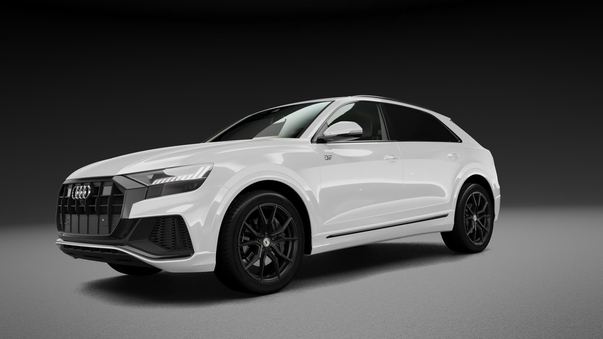 SchmidtRevolution Schmidt Drago SatinBlack Felge mit Reifen schwarz in 21Zoll Winterfelge Alufelge auf weissem Audi Q8 Typ 4M (4L) ⬇️ mit 15mm Tieferlegung ⬇️ Neutral_mid_max5300mm Frontansicht_1
