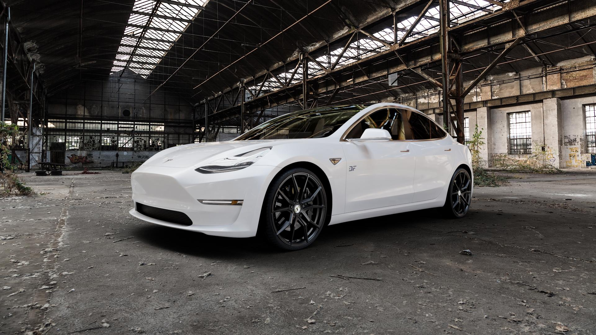 SchmidtRevolution Schmidt Drago SatinBlack Felge mit Reifen schwarz in 21Zoll Winterfelge Alufelge auf weissem Tesla Model 3 Typ 003 ⬇️ mit 15mm Tieferlegung ⬇️ Industriehalle 1 Camera_000