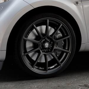 SPARCO ASSETTO GARA MATT BLACK Felge mit Reifen schwarz in 17Zoll Winterfelge Alufelge auf silbernem Smart Fortwo Coupe III (14-) (453) Cabrio (16-) ⬇️ mit 15mm Tieferlegung ⬇️ Industriehalle 1 Thumbnail