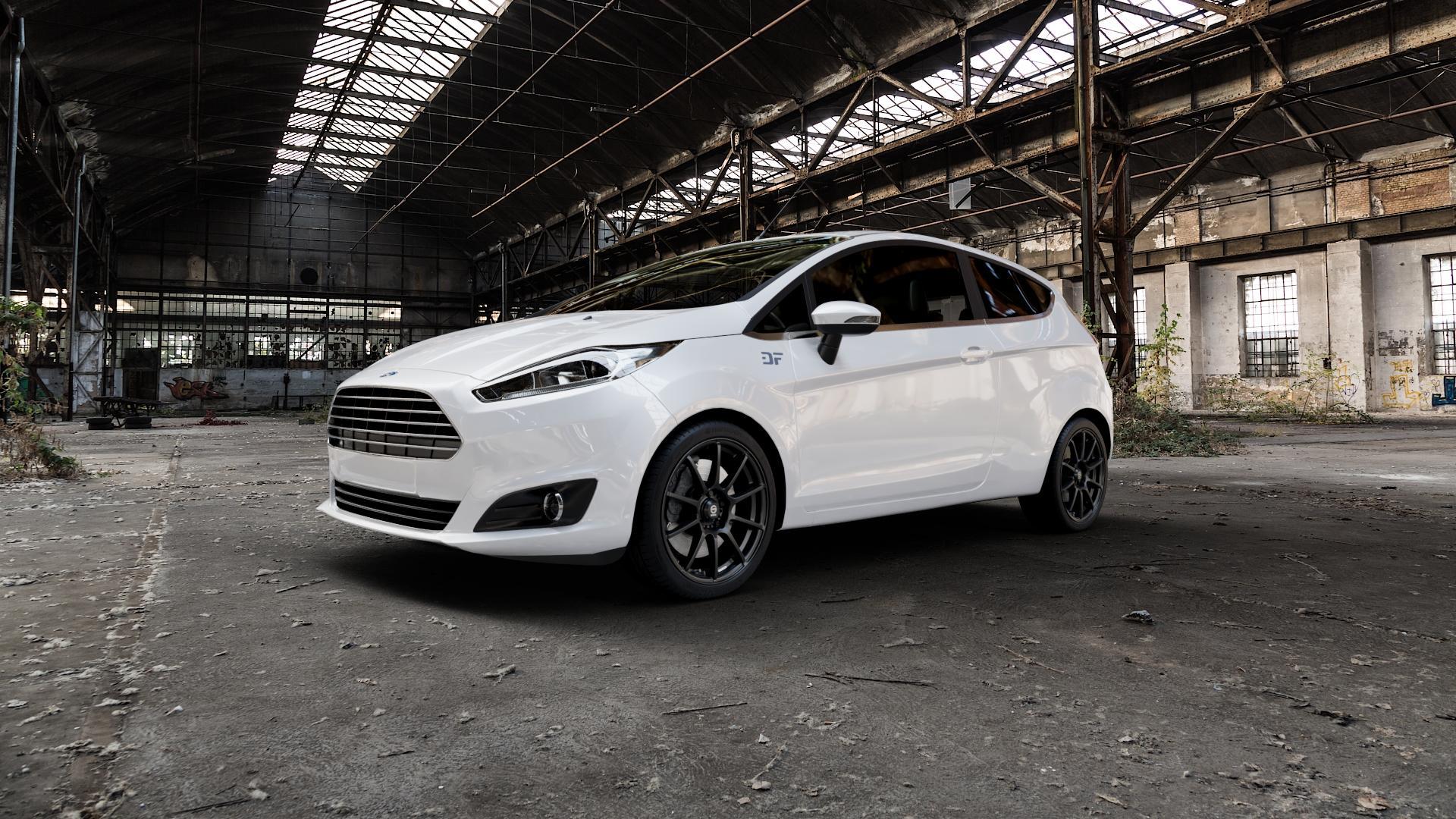 SPARCO ASSETTO GARA MATT BLACK Felge mit Reifen schwarz in 17Zoll Winterfelge Alufelge auf weissem Ford Fiesta VI Typ JA8 Facelift ⬇️ mit 15mm Tieferlegung ⬇️ Industriehalle 1 Camera_000