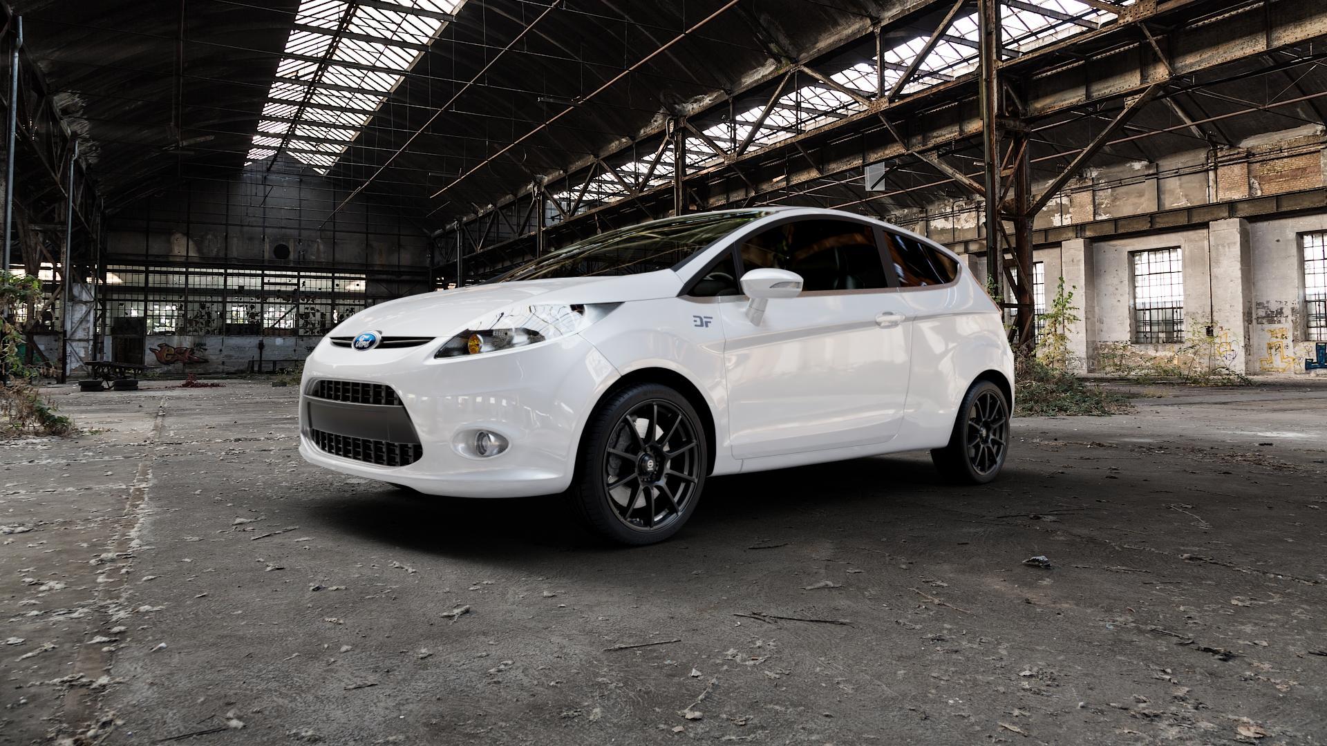 SPARCO ASSETTO GARA MATT BLACK Felge mit Reifen schwarz in 17Zoll Winterfelge Alufelge auf weissem Ford Fiesta VI Typ JA8 ⬇️ mit 15mm Tieferlegung ⬇️ Industriehalle 1 Camera_000