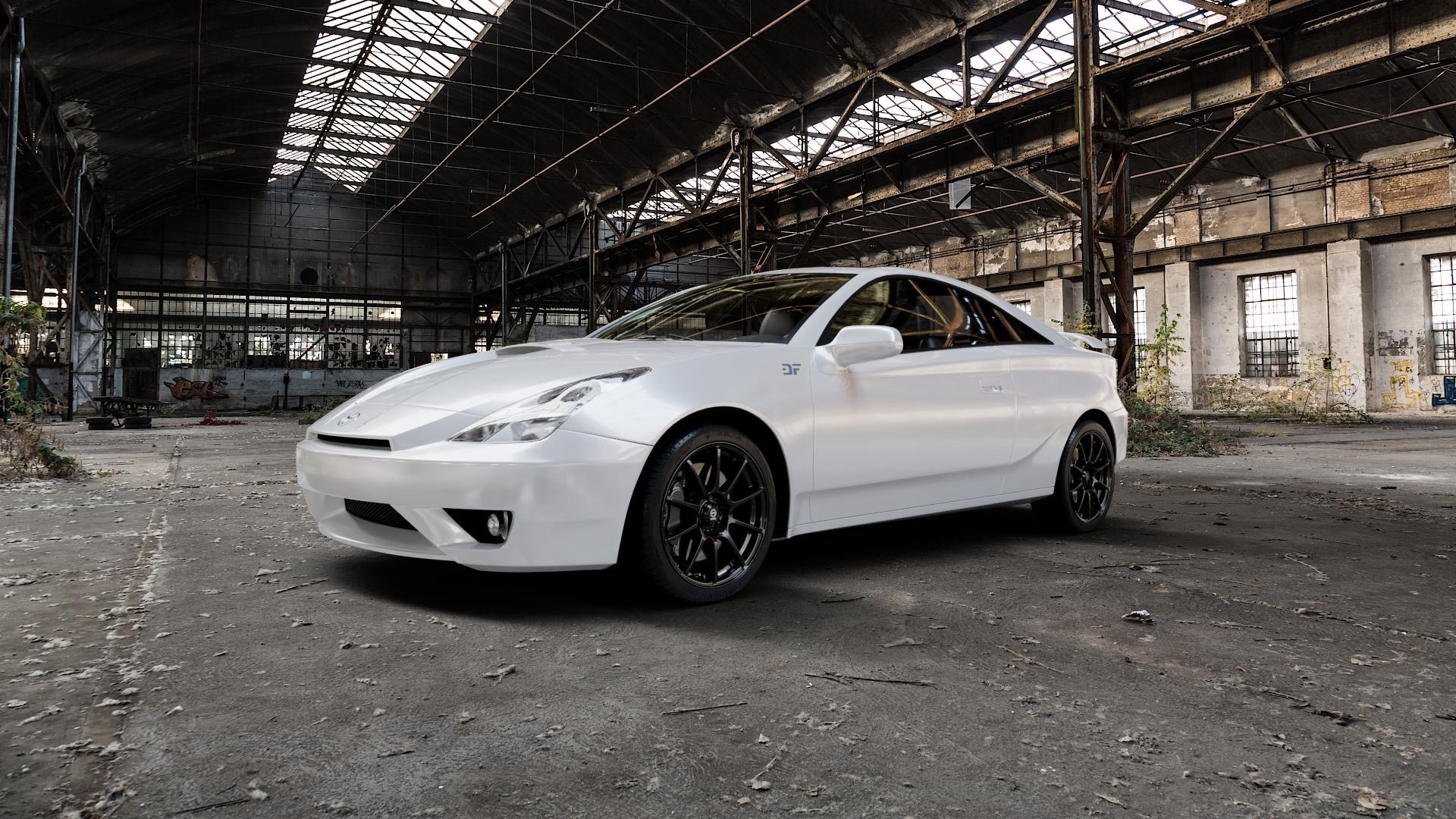 SPARCO ASSETTO GARA MATT BLACK Felge mit Reifen schwarz in 17Zoll Winterfelge Alufelge auf weissem Toyota Celica Typ T23 ⬇️ mit 15mm Tieferlegung ⬇️ Industriehalle 1 Camera_000