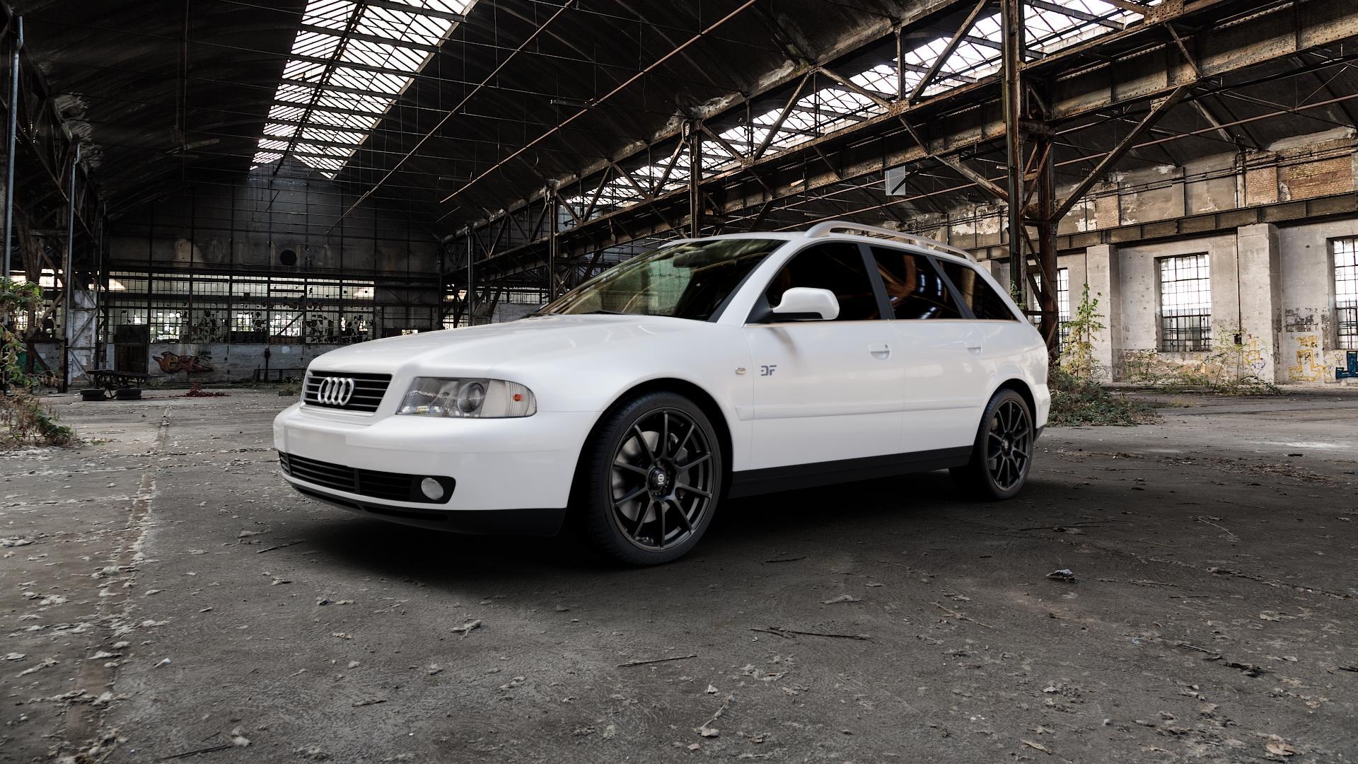 SPARCO ASSETTO GARA MATT BLACK Felge mit Reifen schwarz in 18Zoll Winterfelge Alufelge auf weissem Audi A4 Typ 8D5/B5 (Avant) ⬇️ mit 15mm Tieferlegung ⬇️ Industriehalle 1 Camera_000
