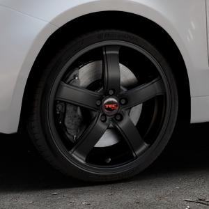 Tec Speedwheels AS1 Schwarz Seidenmatt Felge mit Reifen in 17Zoll Winterfelge Alufelge auf silbernem Fiat 500 Typ 312 Cabrio Facelift ⬇️ mit 15mm Tieferlegung ⬇️ Industriehalle 1 Thumbnail