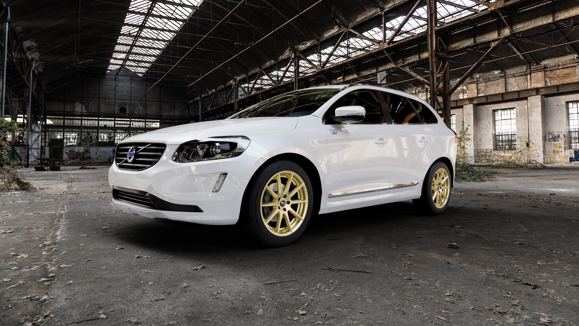 Tec Speedwheels GT7 Gold Felge mit Reifen in 19Zoll Winterfelge Alufelge auf weissem Volvo XC60 Typ D Facelift ⬇️ mit 15mm Tieferlegung ⬇️ Industriehalle 1 Camera_000