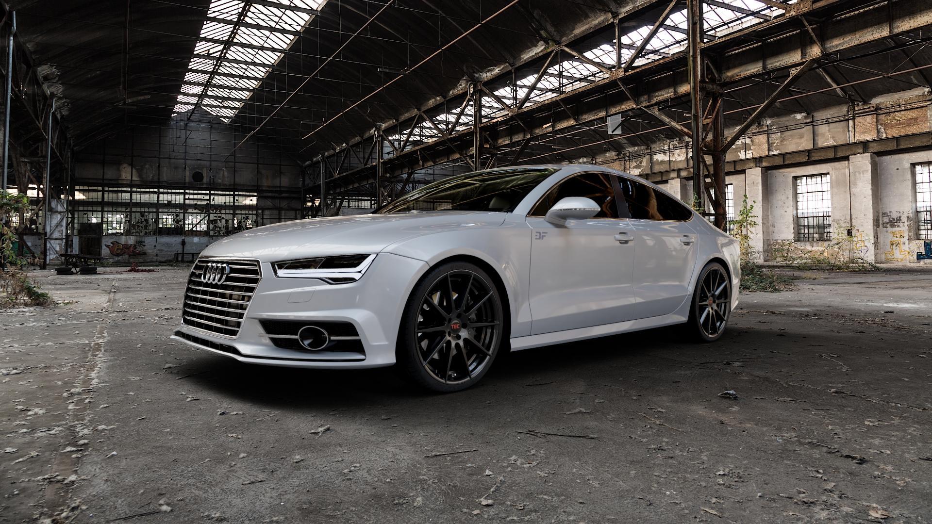 Tec Speedwheels GT7 Schwarz Glanz Felge mit Reifen in 21Zoll Winterfelge Alufelge auf silbernem Audi A7 Typ 4G (Sportback) Facelift ⬇️ mit 15mm Tieferlegung ⬇️ Industriehalle 1 Camera_000