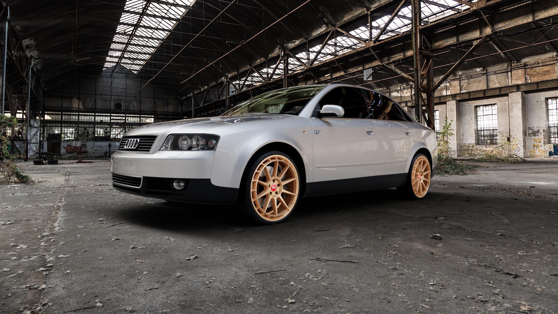 Tec Speedwheels GT8 Rosé Gold Felge mit Reifen in 20Zoll Winterfelge Alufelge auf silbernem Audi A4 Typ 8E2/B6 (Limousine) ⬇️ mit 15mm Tieferlegung ⬇️ Industriehalle 1 Camera_000