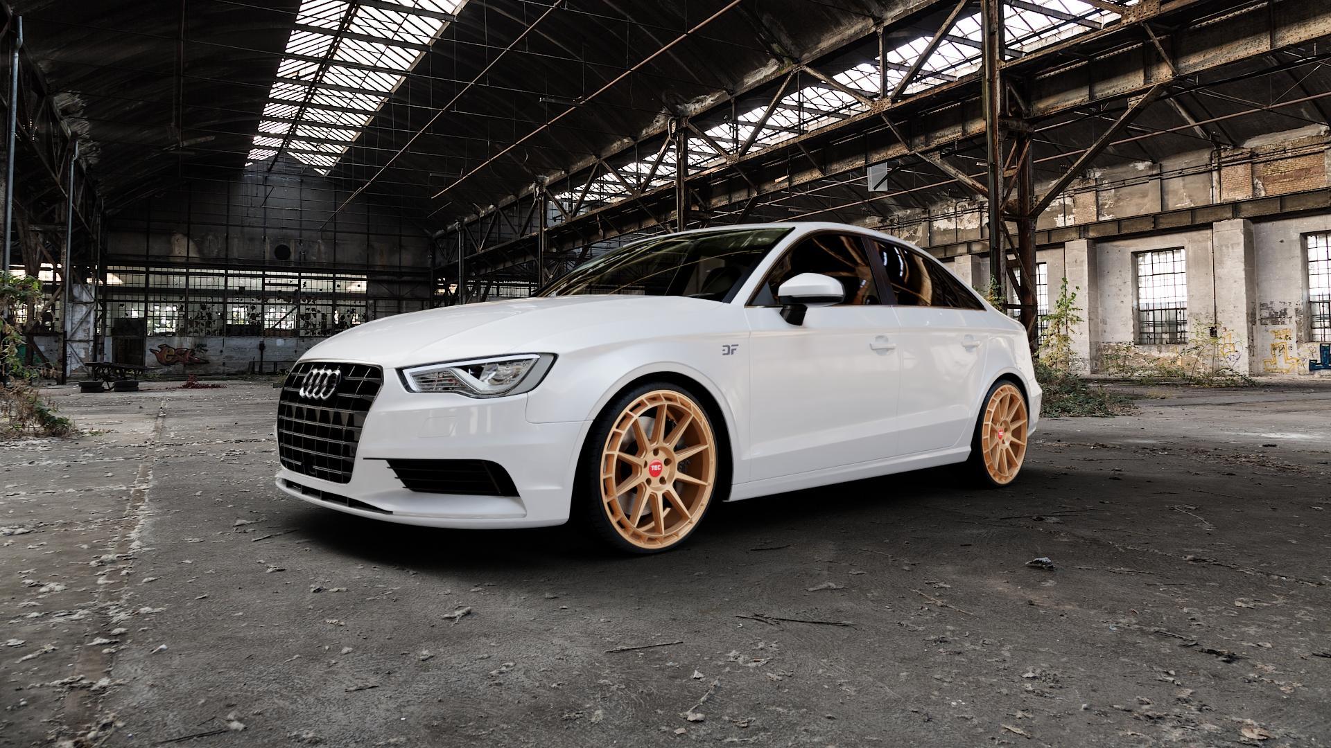 Tec Speedwheels GT8 Rosé Gold Felge mit Reifen in 20Zoll Winterfelge Alufelge auf weissem Audi A3 Typ 8V (Limousine) ⬇️ mit 15mm Tieferlegung ⬇️ Industriehalle 1 Camera_000