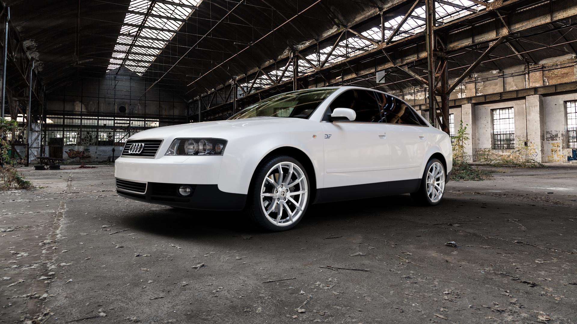 TOMASON TN10 High gloss Silver Felge mit Reifen silber in 19Zoll Winterfelge Alufelge auf weissem Audi A4 Typ 8E2/B6 (Limousine) ⬇️ mit 15mm Tieferlegung ⬇️ Industriehalle 1 Camera_000