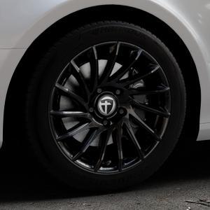 TOMASON TN16 Black painted Felge mit Reifen schwarz in 17Zoll Winterfelge Alufelge auf silbernem Audi A4 Typ 8K2/B8 (Limousine) ⬇️ mit 15mm Tieferlegung ⬇️ Industriehalle 1 Thumbnail