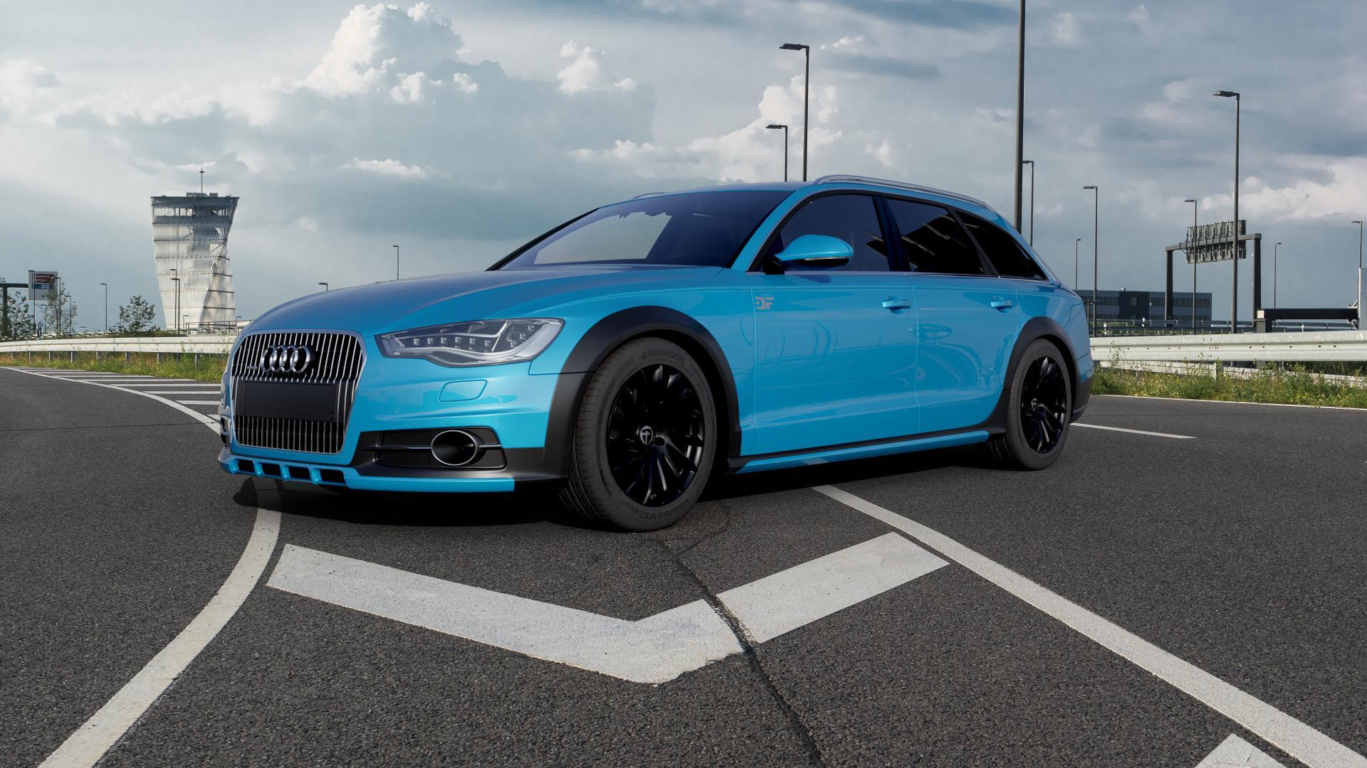 TOMASON TN16 Black painted Felge mit Reifen schwarz in 18Zoll Winterfelge Alufelge auf hellblau Audi A6 Allroad Quattro Typ 4G/C7 ⬇️ mit 15mm Tieferlegung ⬇️ Autobahn_1 Camera_000
