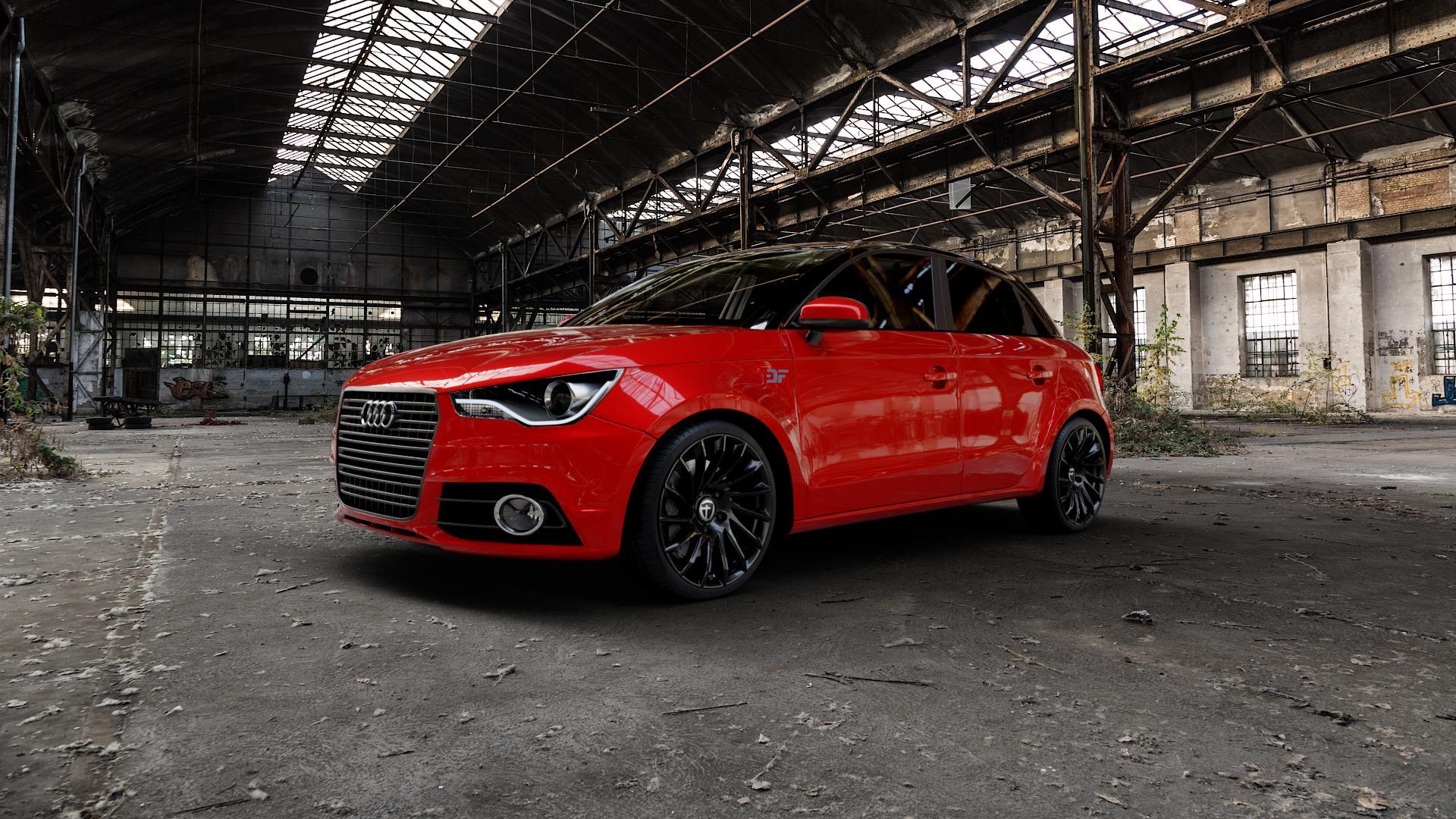 TOMASON TN16 Black painted Felge mit Reifen schwarz in 18Zoll Winterfelge Alufelge auf rotem Audi A1 Typ 8X (Sportback) ⬇️ mit 15mm Tieferlegung ⬇️ Industriehalle 1 Camera_000