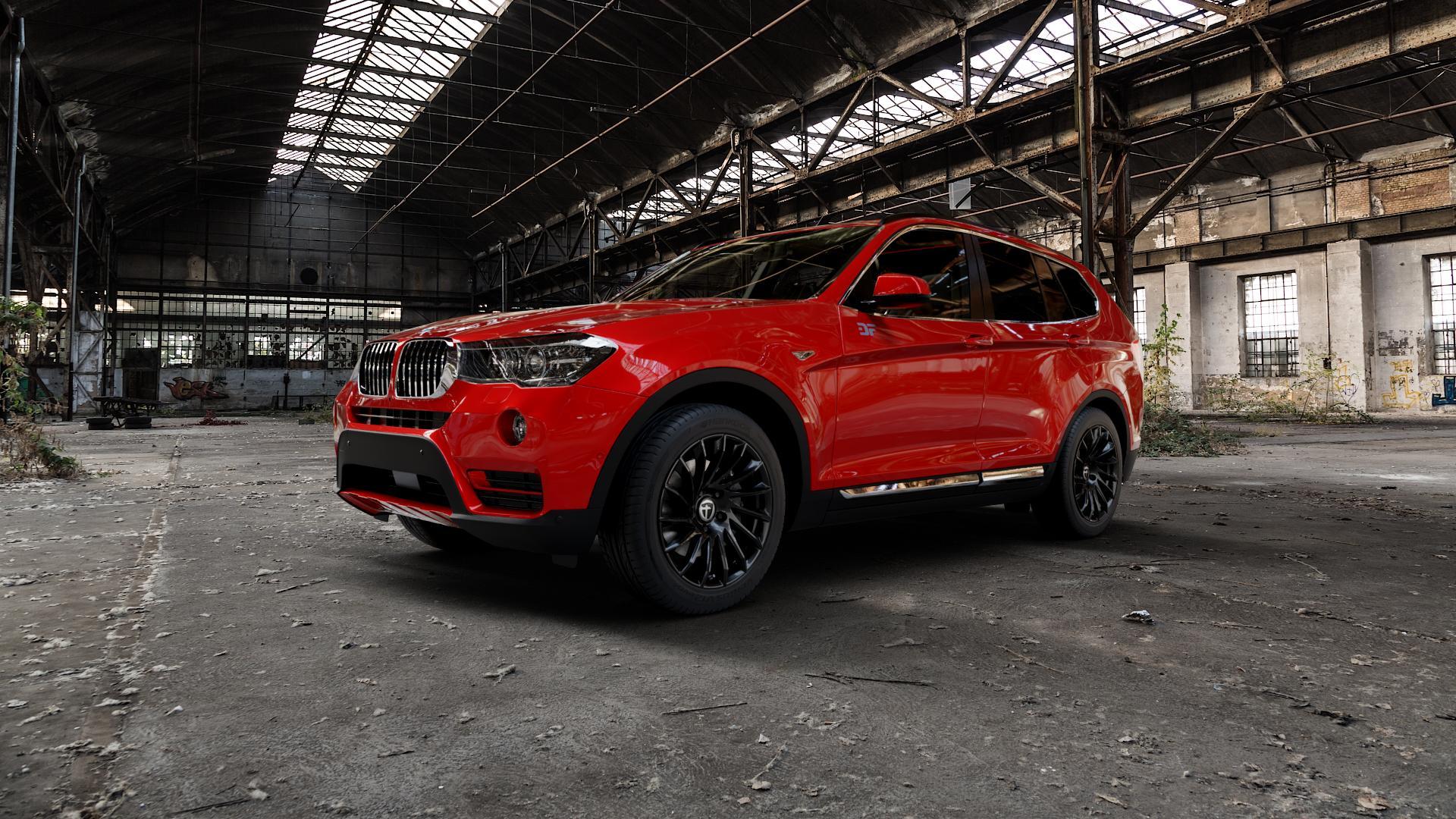 TOMASON TN16 Black painted Felge mit Reifen schwarz in 18Zoll Winterfelge Alufelge auf rotem BMW X3 Typ F25 (X3, X-N1) ⬇️ mit 15mm Tieferlegung ⬇️ Industriehalle 1 Camera_000