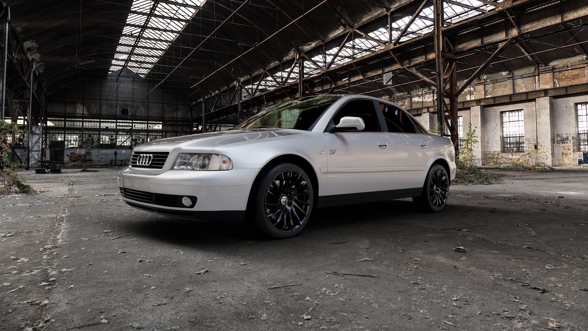 TOMASON TN16 Black painted Felge mit Reifen schwarz in 18Zoll Winterfelge Alufelge auf silbernem Audi A4 Typ 8D2/B5 (Limousine) ⬇️ mit 15mm Tieferlegung ⬇️ Industriehalle 1 Camera_000