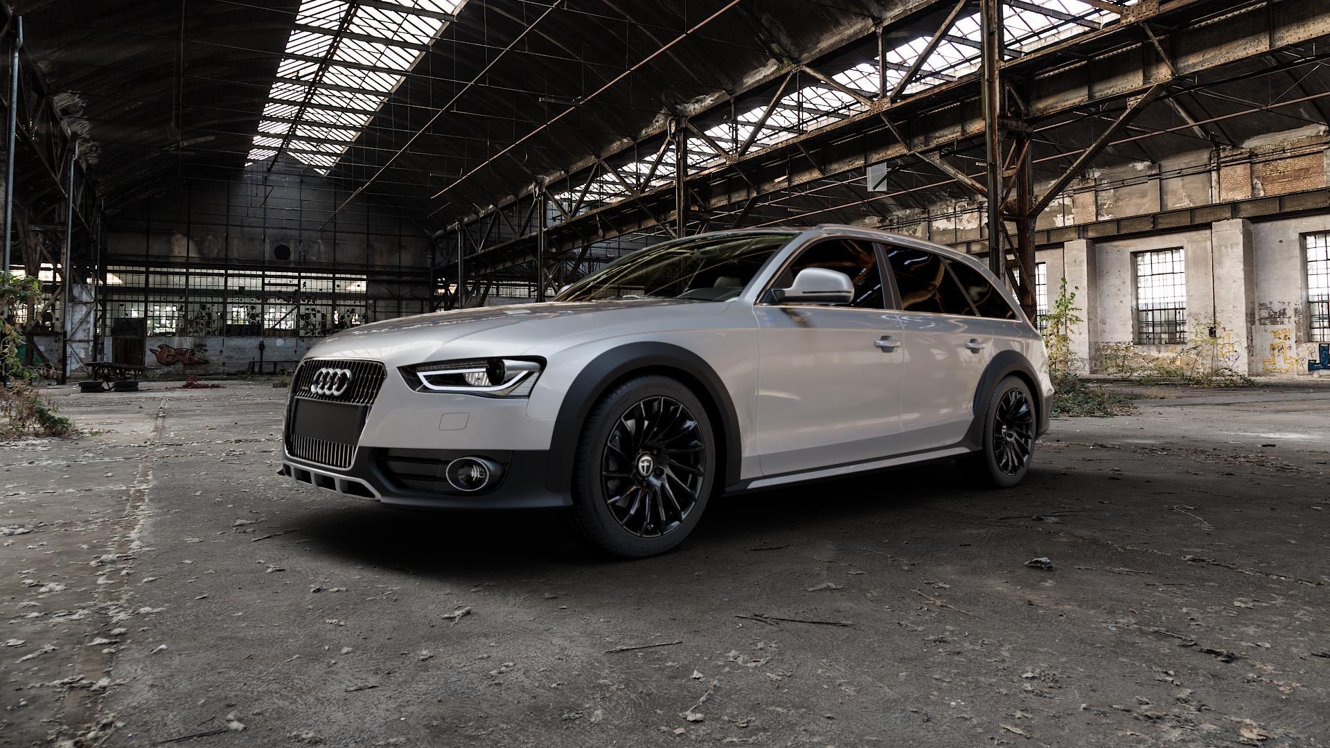 TOMASON TN16 Black painted Felge mit Reifen schwarz in 18Zoll Winterfelge Alufelge auf silbernem Audi A4 Typ 8KH/B8 Allroad ⬇️ mit 15mm Tieferlegung ⬇️ Industriehalle 1 Camera_000