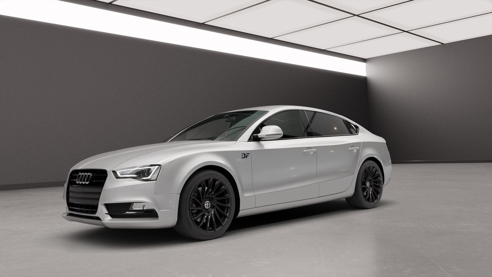 TOMASON TN16 Black painted Felge mit Reifen schwarz in 18Zoll Winterfelge Alufelge auf silbernem Audi A5 Typ B8 (Sportback) Facelift ⬇️ mit 15mm Tieferlegung ⬇️ Neutral_mid_max5300mm Frontansicht_1