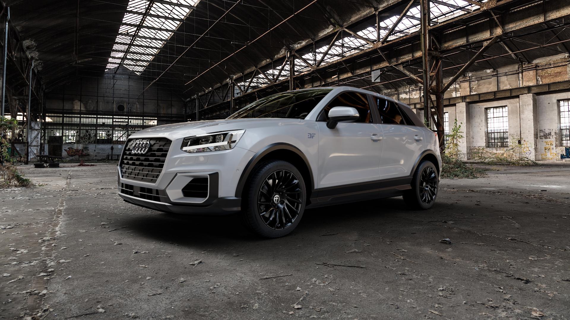 TOMASON TN16 Black painted Felge mit Reifen schwarz in 18Zoll Winterfelge Alufelge auf silbernem Audi Q2 Typ GA ⬇️ mit 15mm Tieferlegung ⬇️ Industriehalle 1 Camera_000