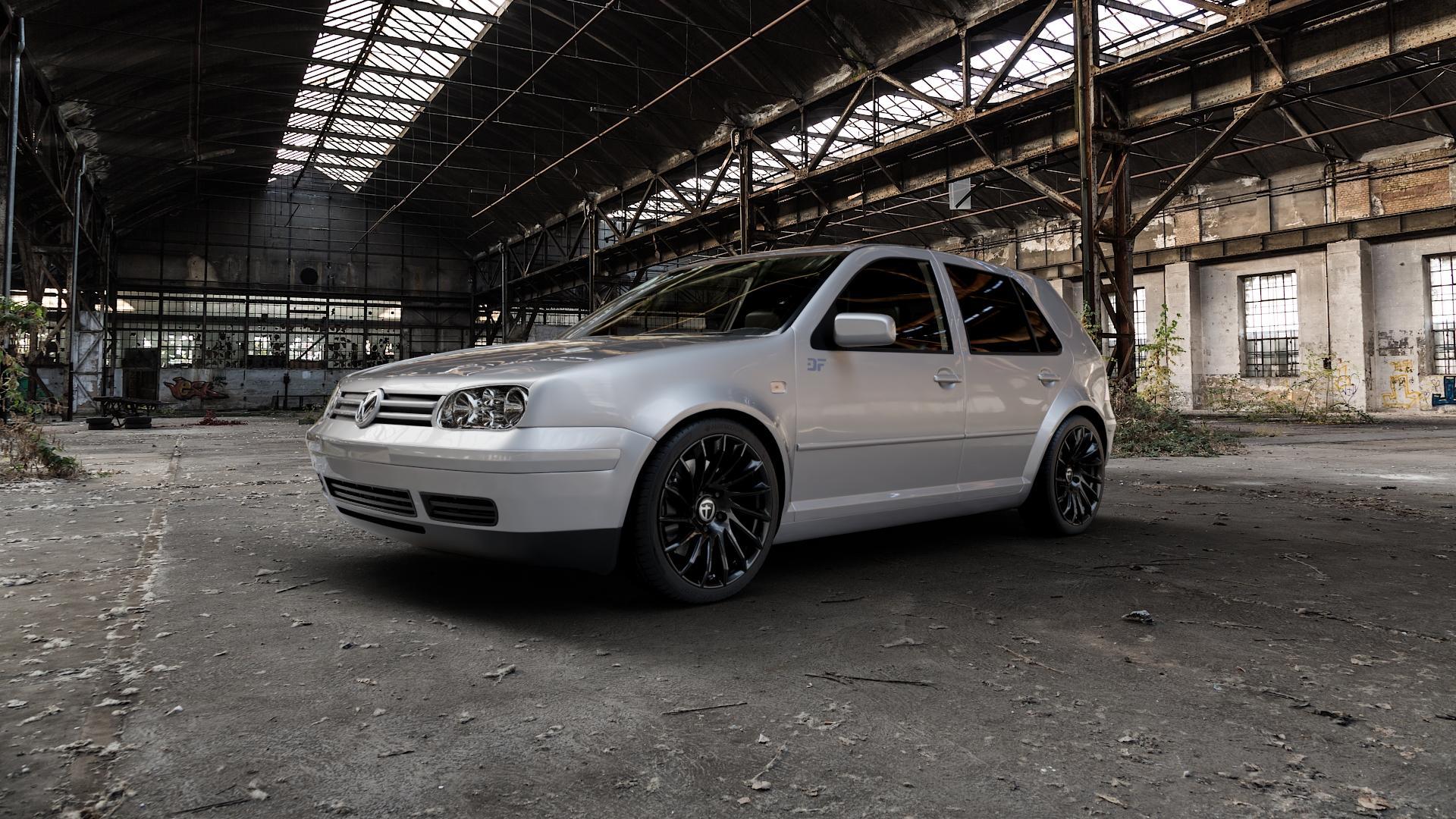 TOMASON TN16 Black painted Felge mit Reifen schwarz in 18Zoll Winterfelge Alufelge auf silbernem Volkswagen (VW) Golf 4 ⬇️ mit 15mm Tieferlegung ⬇️ Industriehalle 1 Camera_000