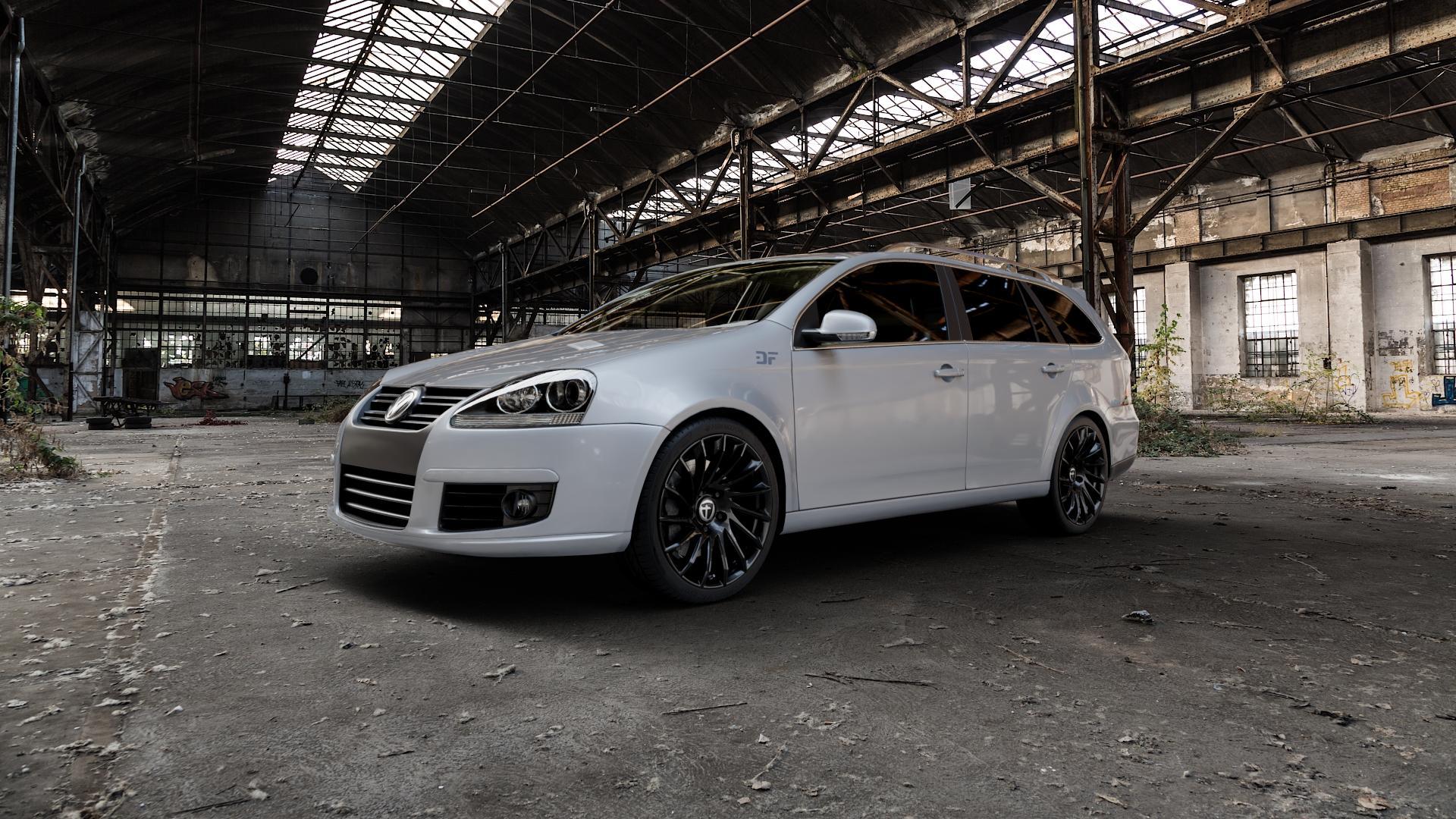TOMASON TN16 Black painted Felge mit Reifen schwarz in 18Zoll Winterfelge Alufelge auf silbernem Volkswagen (VW) Golf 5 Variant ⬇️ mit 15mm Tieferlegung ⬇️ Industriehalle 1 Camera_000