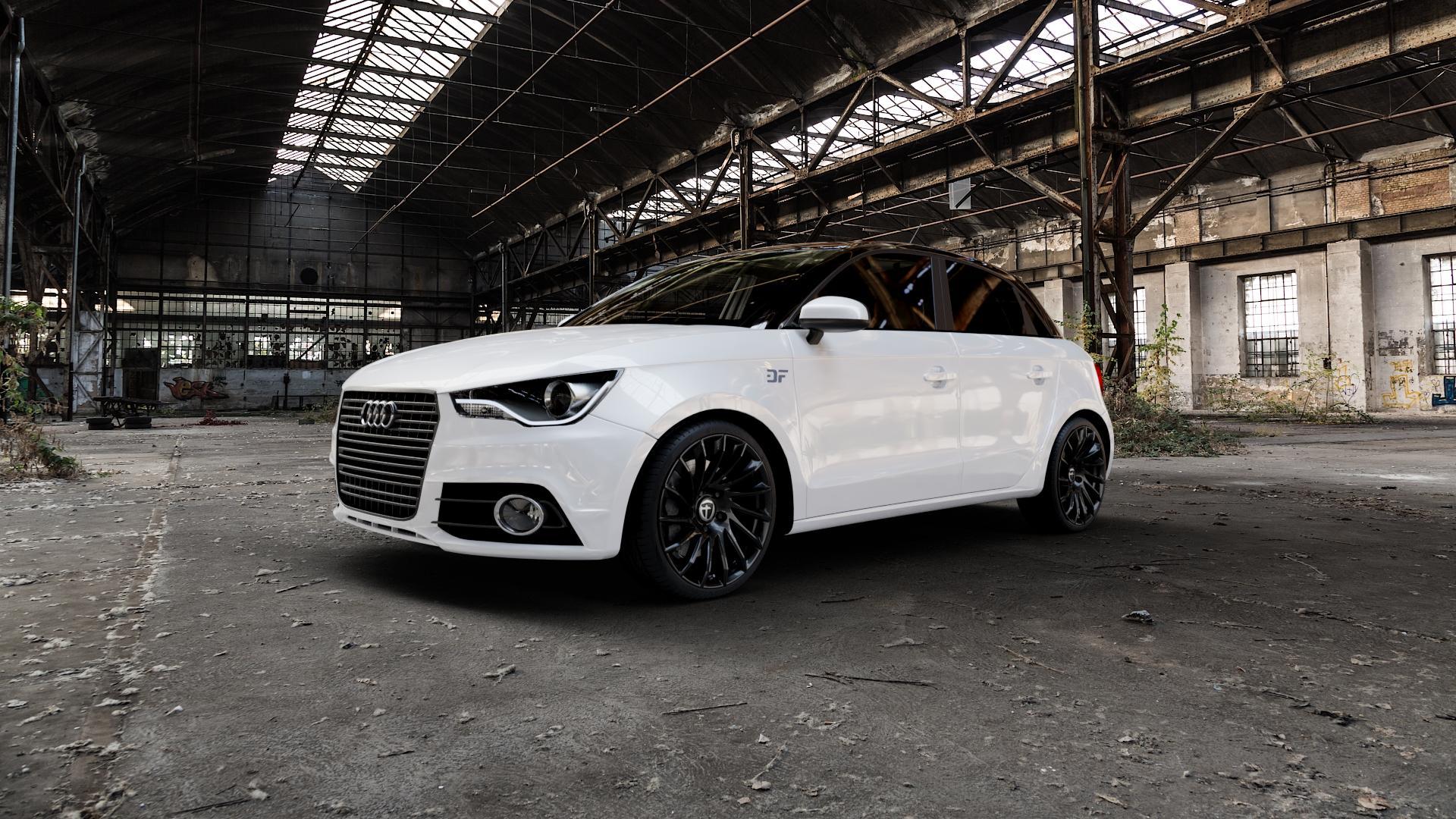 TOMASON TN16 black painted Felge mit Reifen schwarz in 18Zoll Winterfelge Alufelge auf weissem Audi A1 Typ 8X (Sportback) ⬇️ mit 15mm Tieferlegung ⬇️ Industriehalle 1 Camera_000