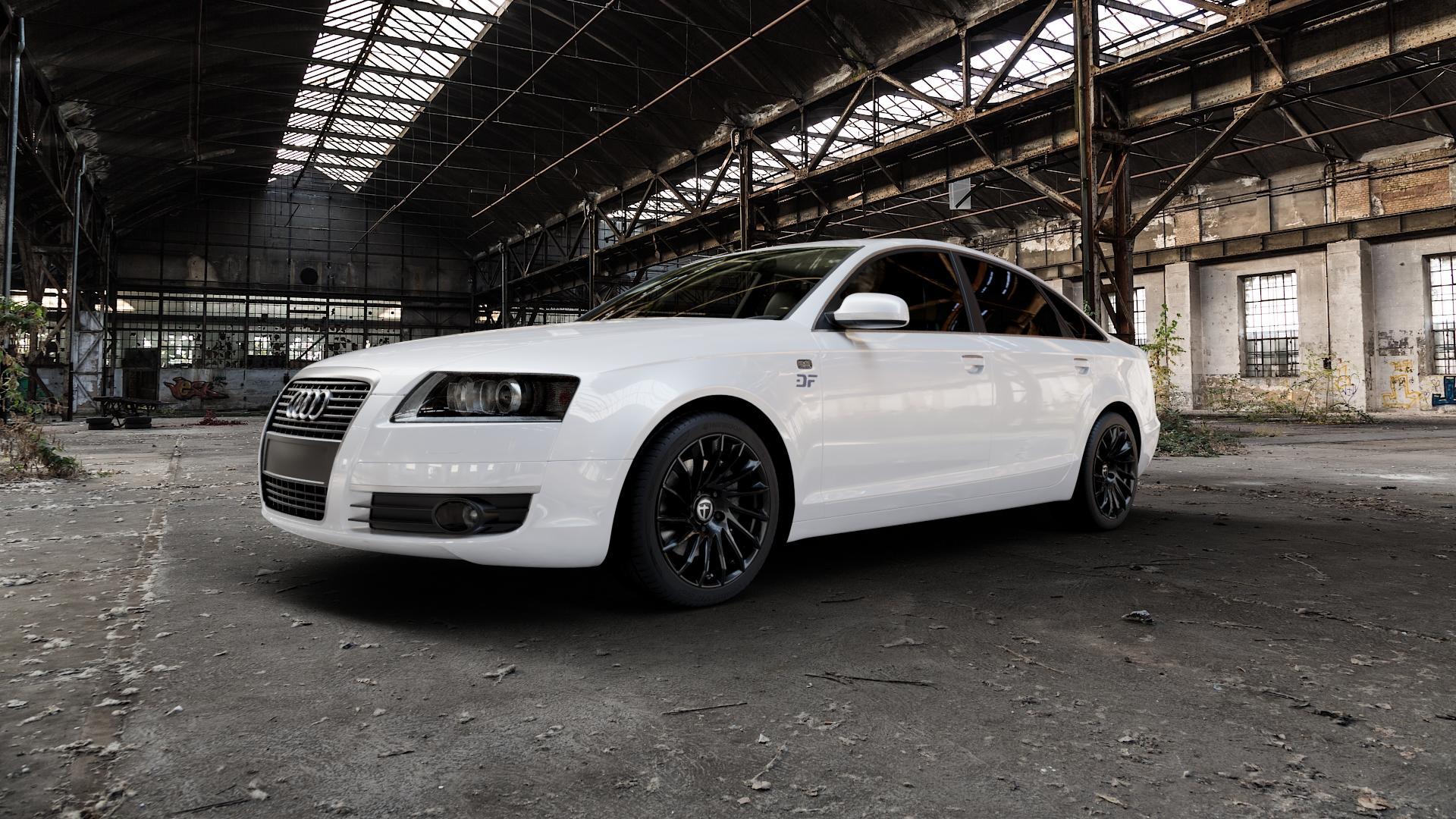 TOMASON TN16 Black painted Felge mit Reifen schwarz in 18Zoll Winterfelge Alufelge auf weissem Audi A6 Typ 4F/C6 (Limousine) ⬇️ mit 15mm Tieferlegung ⬇️ Industriehalle 1 Camera_000