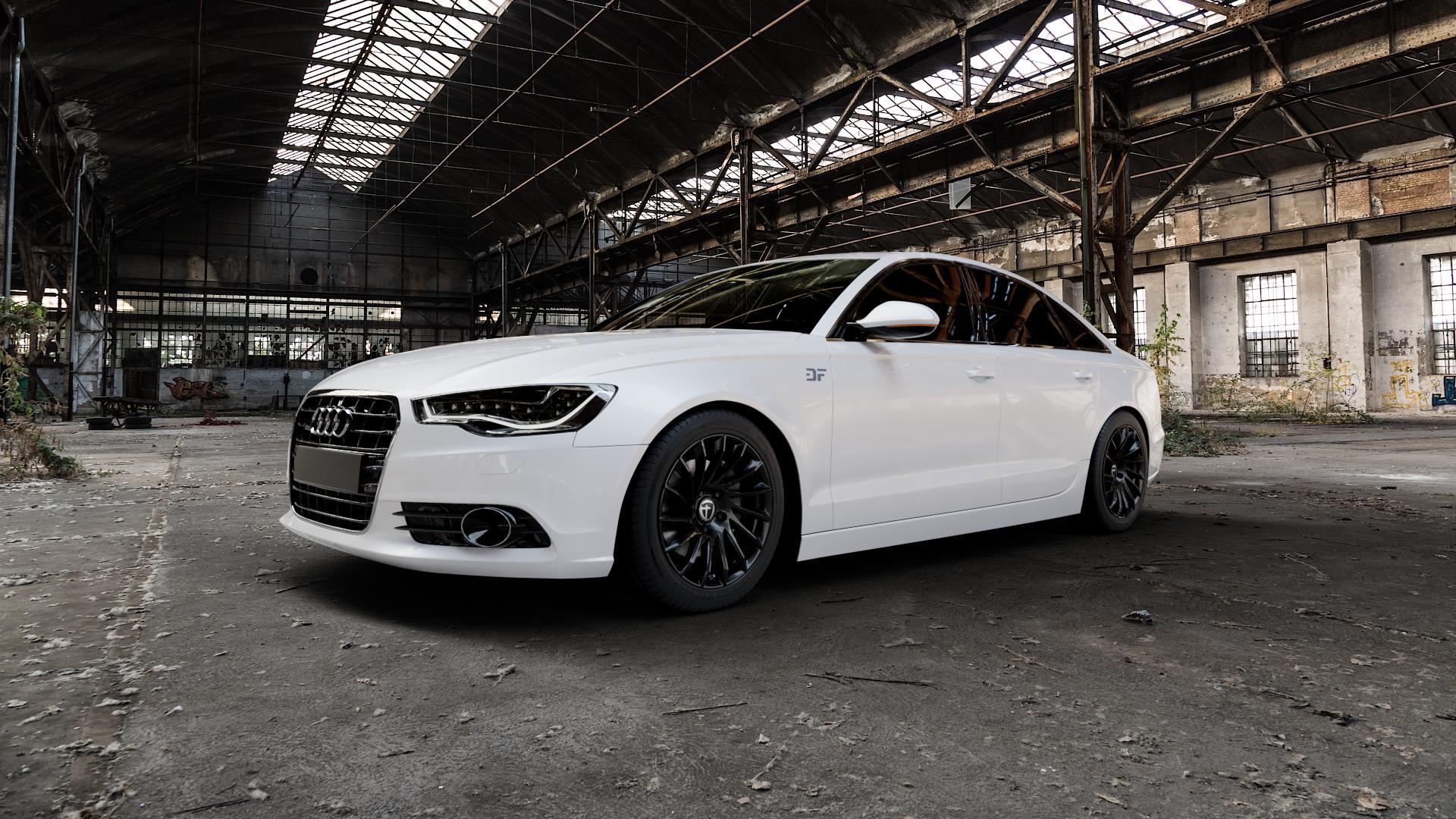 TOMASON TN16 Black painted Felge mit Reifen schwarz in 18Zoll Winterfelge Alufelge auf weissem Audi A6 Typ 4G/C7 (Limousine) ⬇️ mit 15mm Tieferlegung ⬇️ Industriehalle 1 Camera_000