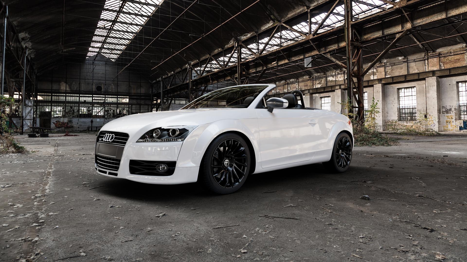 TOMASON TN16 Black painted Felge mit Reifen schwarz in 18Zoll Winterfelge Alufelge auf weissem Audi TT II Typ 8J (Roadster) ⬇️ mit 15mm Tieferlegung ⬇️ Industriehalle 1 Camera_000