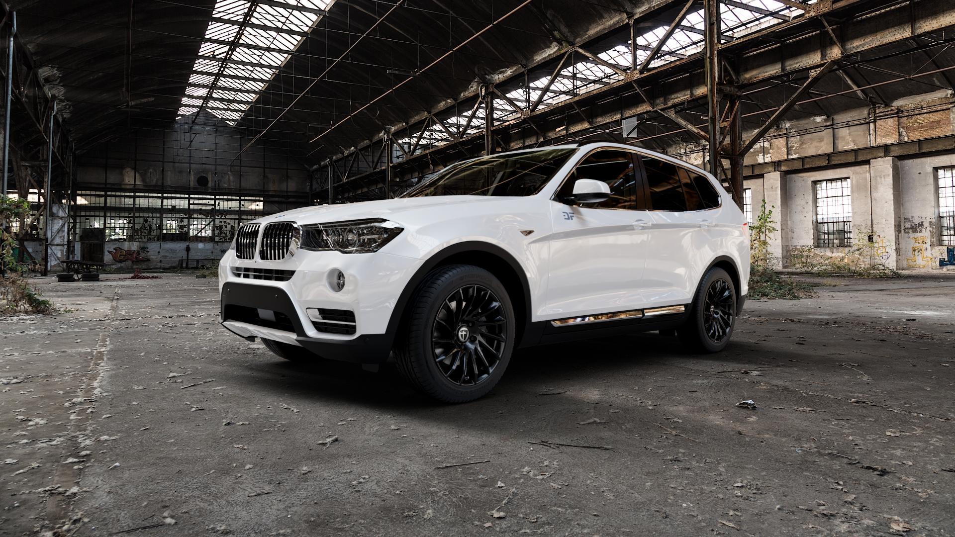 TOMASON TN16 Black painted Felge mit Reifen schwarz in 18Zoll Winterfelge Alufelge auf weissem BMW X3 Typ F25 (X3, X-N1) ⬇️ mit 15mm Tieferlegung ⬇️ Industriehalle 1 Camera_000