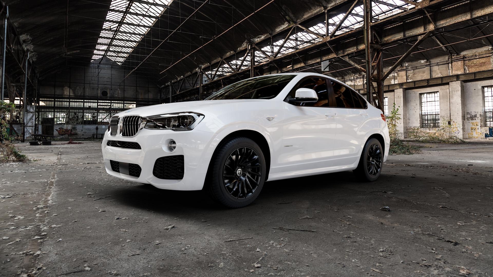 TOMASON TN16 Black painted Felge mit Reifen schwarz in 18Zoll Winterfelge Alufelge auf weissem BMW X4 Typ F26 (X3, X-N1) ⬇️ mit 15mm Tieferlegung ⬇️ Industriehalle 1 Camera_000
