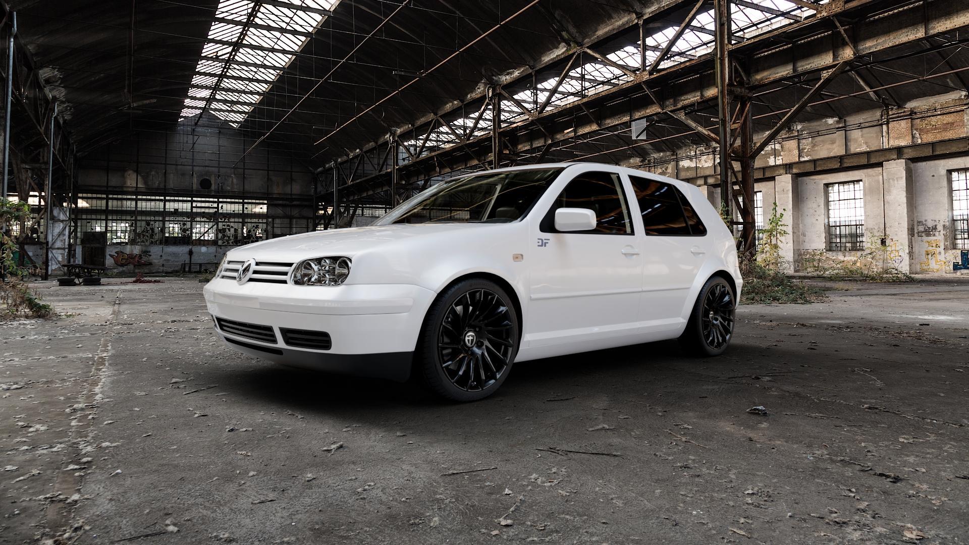 TOMASON TN16 black painted Felge mit Reifen schwarz in 18Zoll Winterfelge Alufelge auf weissem Volkswagen (VW) Golf 4 ⬇️ mit 15mm Tieferlegung ⬇️ Industriehalle 1 Camera_000