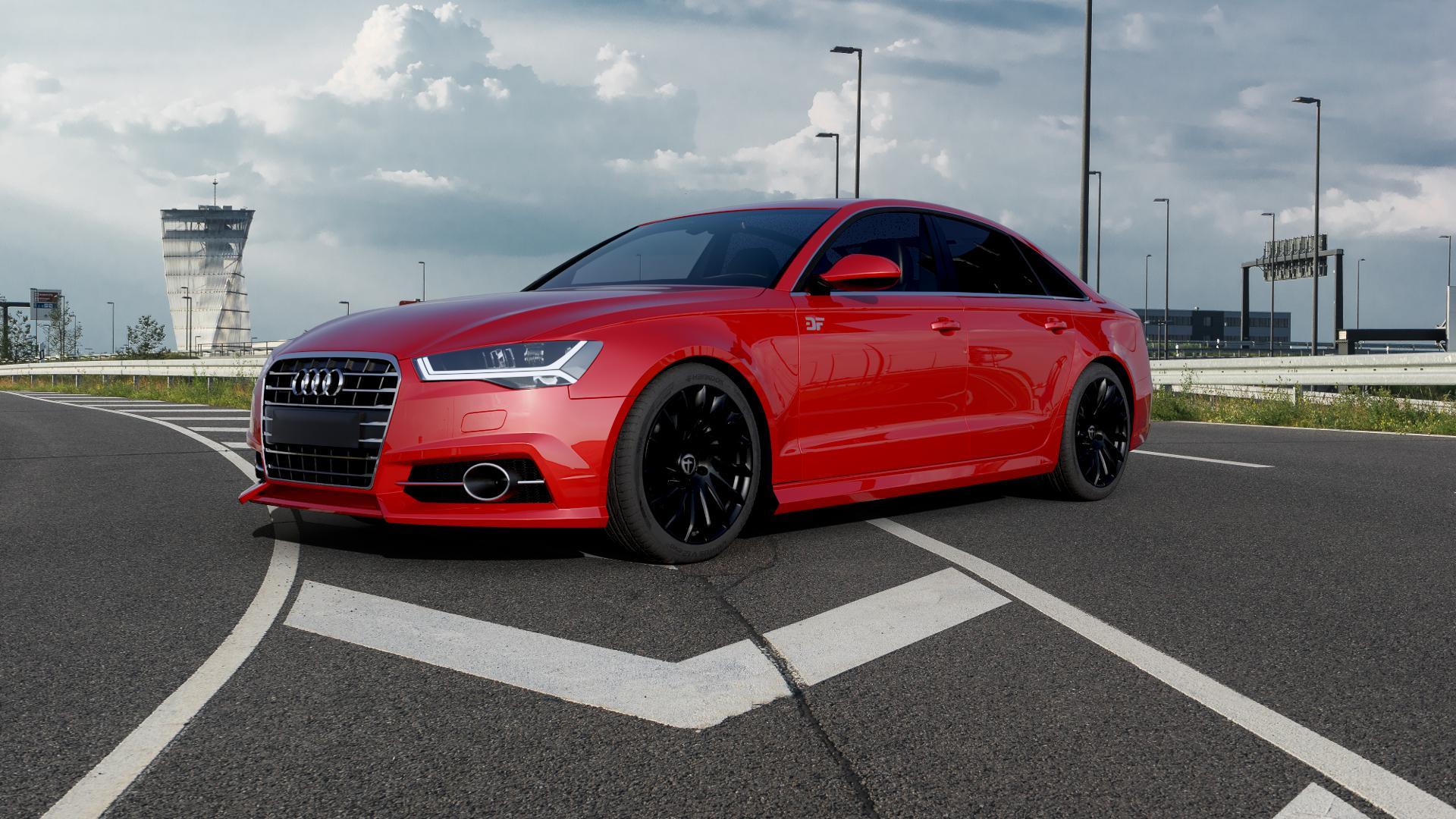TOMASON TN16 Black painted Felge mit Reifen schwarz in 19Zoll Winterfelge Alufelge auf rotem Audi A6 Typ 4G/C7 (Limousine) Facelift ⬇️ mit 15mm Tieferlegung ⬇️ Autobahn_1 Camera_000