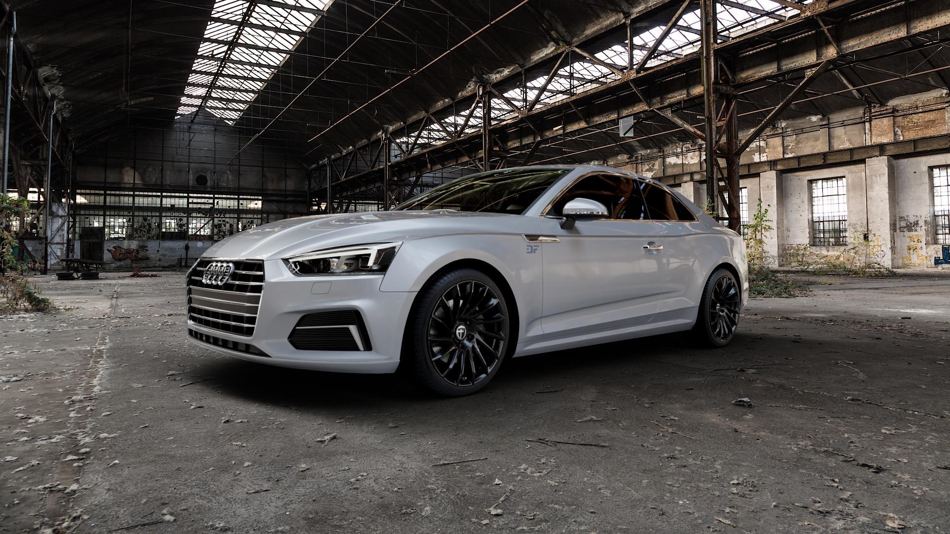 TOMASON TN16 Black painted Felge mit Reifen schwarz in 19Zoll Winterfelge Alufelge auf silbernem Audi A5 Typ B9 (Coupé) (Cabriolet) ⬇️ mit 15mm Tieferlegung ⬇️ Industriehalle 1 Camera_000