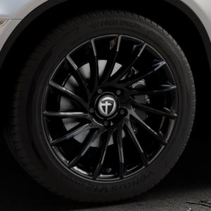 TOMASON TN16 Black painted Felge mit Reifen schwarz in 19Zoll Winterfelge Alufelge auf silbernem BMW X6 Typ E71 (X70, X6, X-N1, HY) ⬇️ mit 15mm Tieferlegung ⬇️ Industriehalle 1 Thumbnail