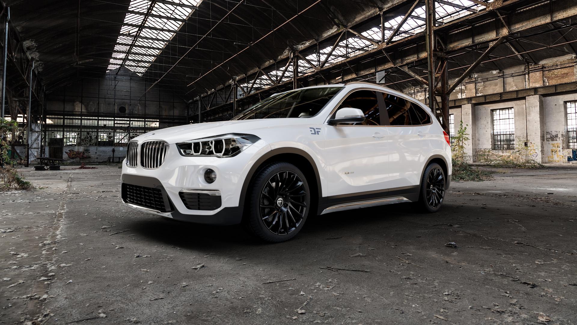 TOMASON TN16 Black painted Felge mit Reifen schwarz in 19Zoll Winterfelge Alufelge auf weissem BMW X1 Typ F48 (UKL-L) (F1X) ⬇️ mit 15mm Tieferlegung ⬇️ Industriehalle 1 Camera_000