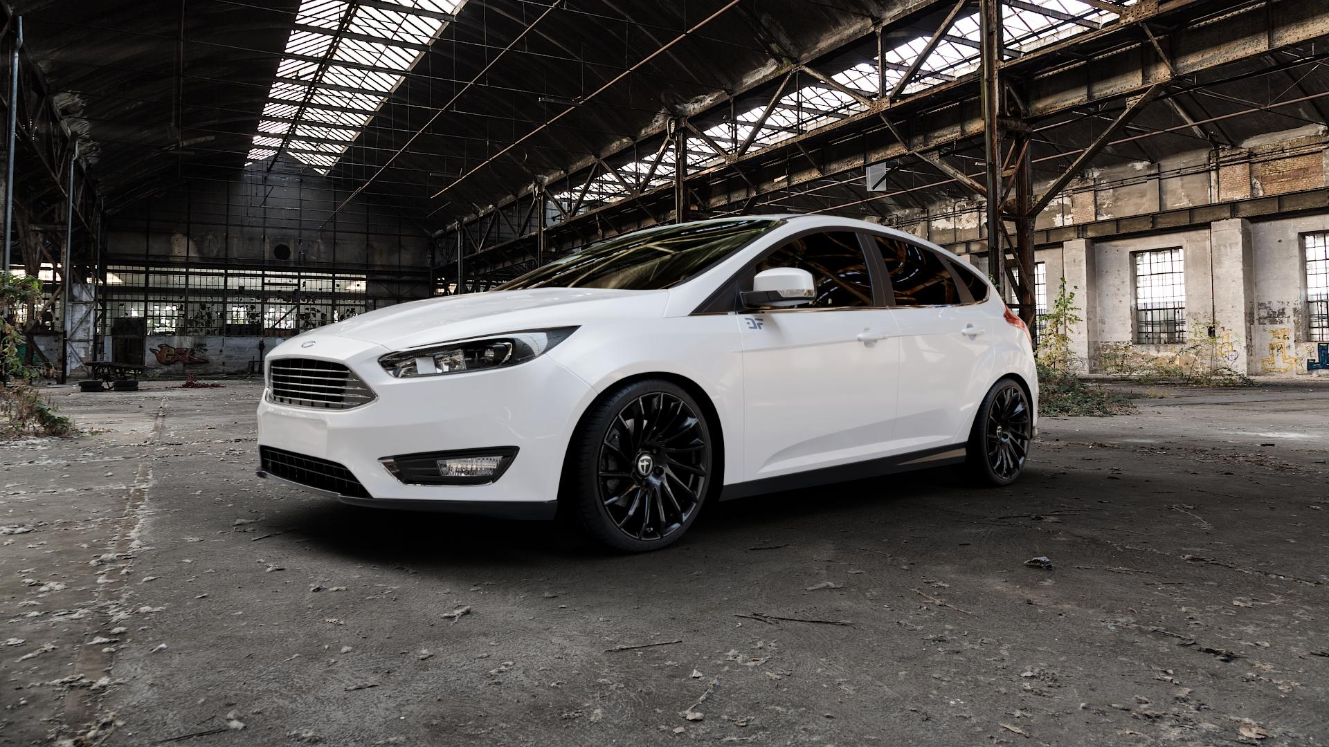 TOMASON TN16 Black painted Felge mit Reifen schwarz in 19Zoll Winterfelge Alufelge auf weissem Ford Focus III Typ DYB Facelift (Schrägheck) ⬇️ mit 15mm Tieferlegung ⬇️ Industriehalle 1 Camera_000