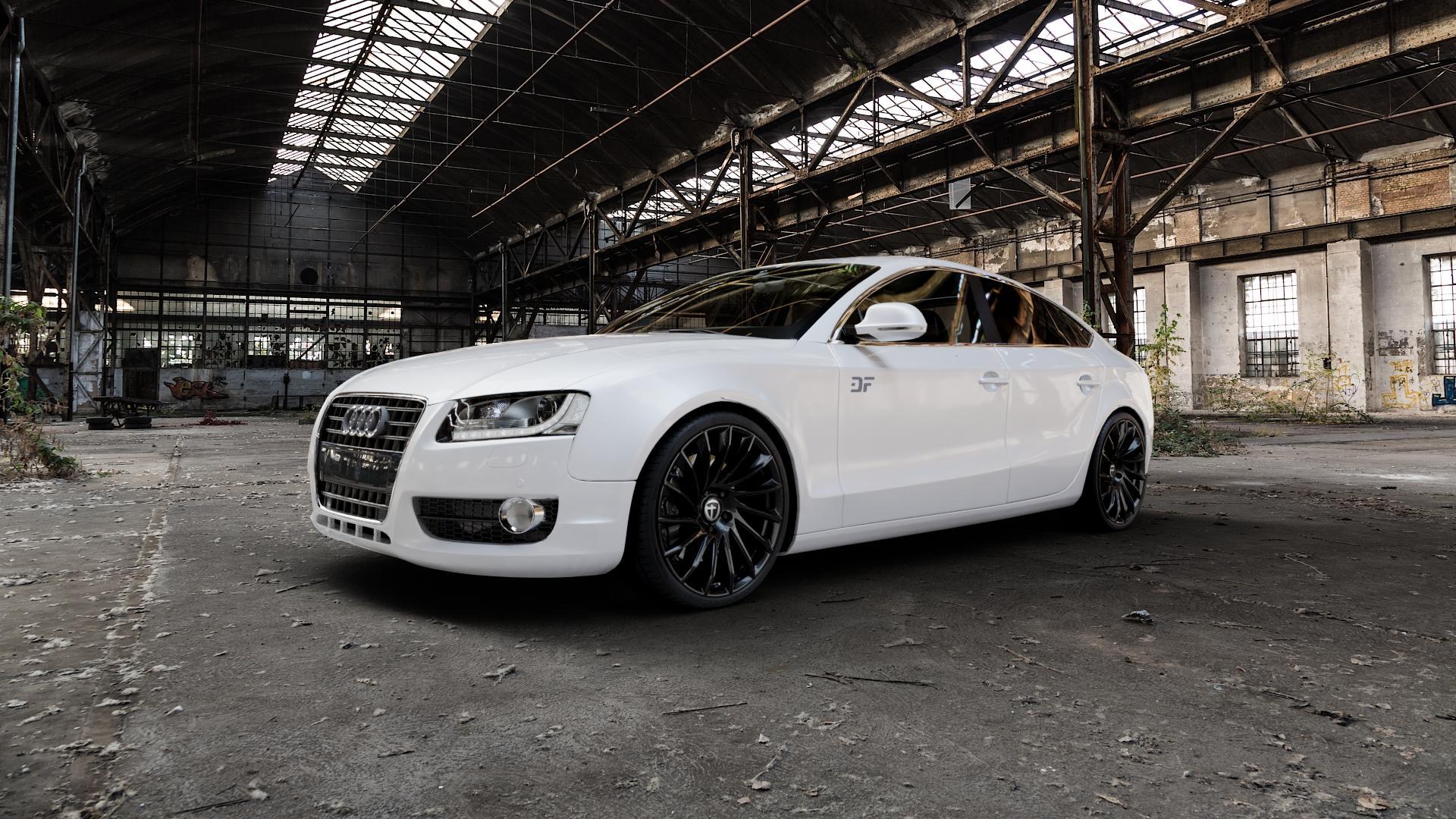 TOMASON TN16 Black painted Felge mit Reifen schwarz in 20Zoll Winterfelge Alufelge auf weissem Audi A5 Typ B8 (Sportback) ⬇️ mit 15mm Tieferlegung ⬇️ Industriehalle 1 Camera_000