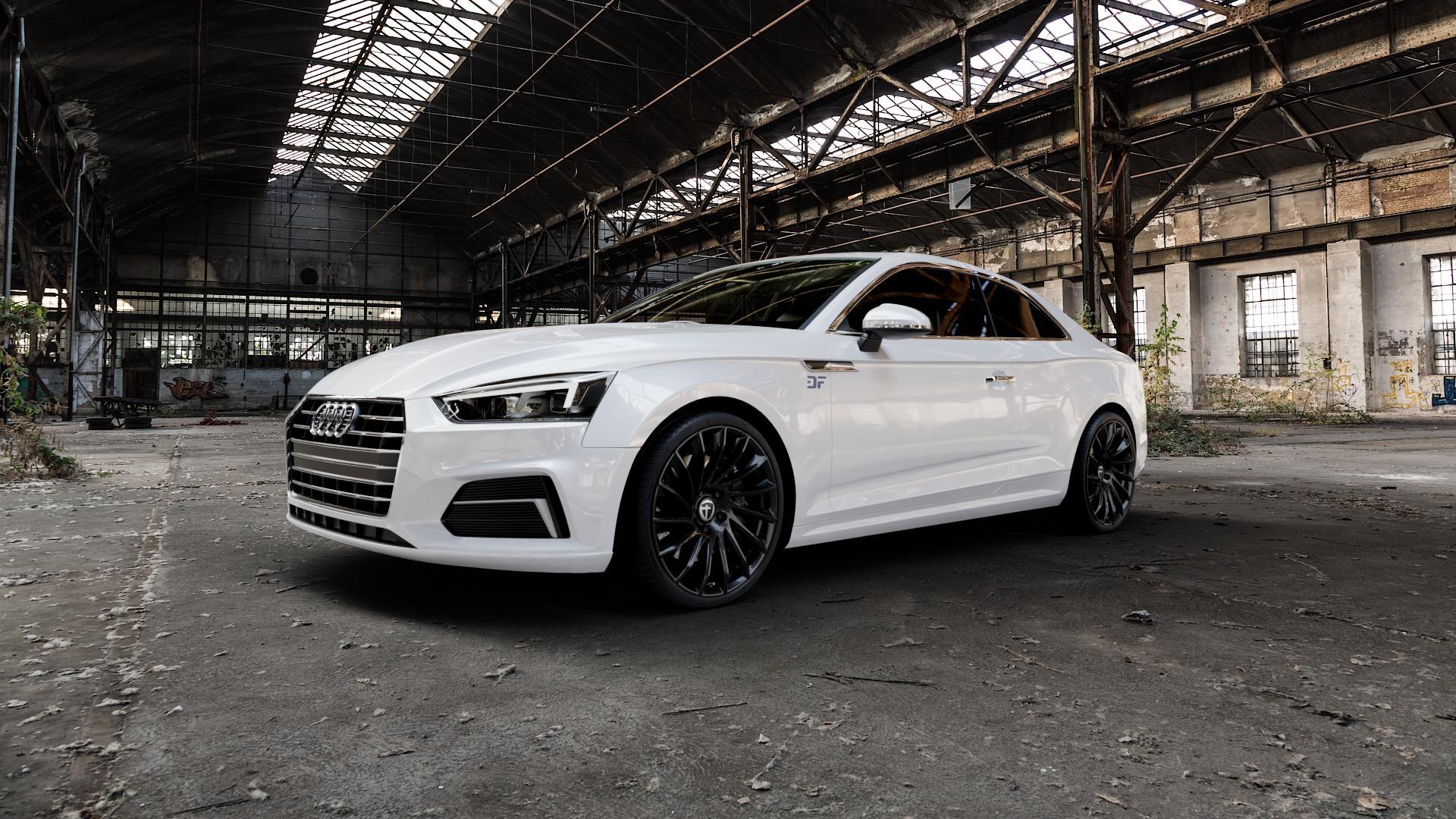 TOMASON TN16 Black painted Felge mit Reifen schwarz in 20Zoll Winterfelge Alufelge auf weissem Audi A5 Typ B9 (Coupé) (Cabriolet) ⬇️ mit 15mm Tieferlegung ⬇️ Industriehalle 1 Camera_000