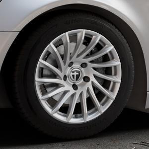 TOMASON TN16 Bright Silver Felge mit Reifen silber in 17Zoll Winterfelge Alufelge auf silbernem Audi A6 Typ 4G/C7 (Avant) ⬇️ mit 15mm Tieferlegung ⬇️ Industriehalle 1 Thumbnail