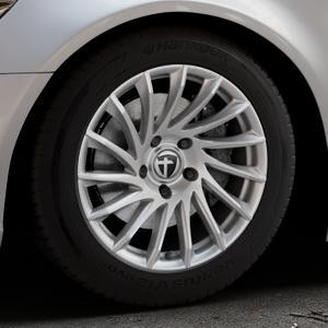 TOMASON TN16 Bright Silver Felge mit Reifen silber in 17Zoll Winterfelge Alufelge auf silbernem Audi A6 Typ 4G/C7 (Limousine) ⬇️ mit 15mm Tieferlegung ⬇️ Industriehalle 1 Thumbnail